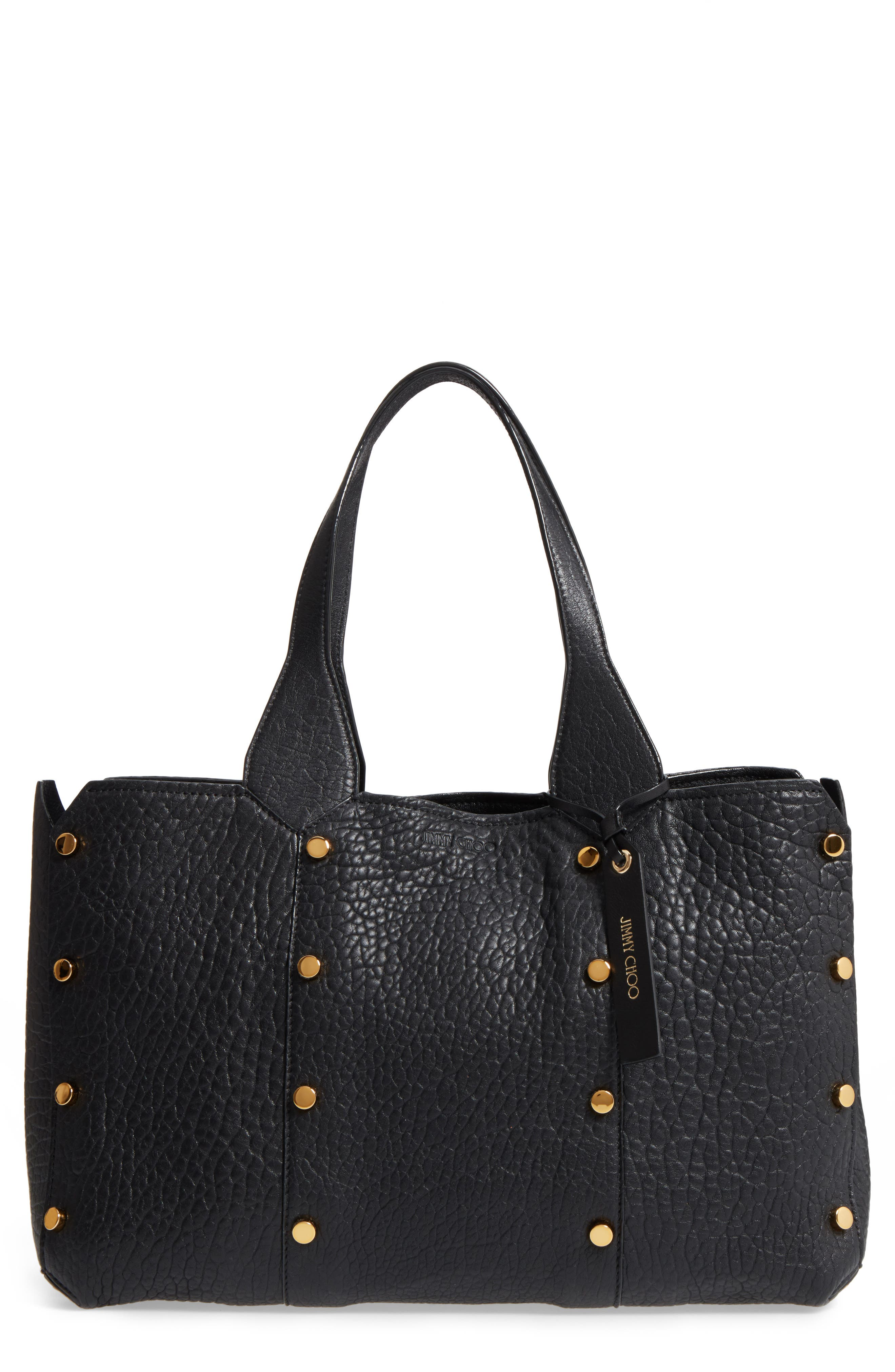 Lockett Leather Shopper,                             Main thumbnail 1, color,                             Black