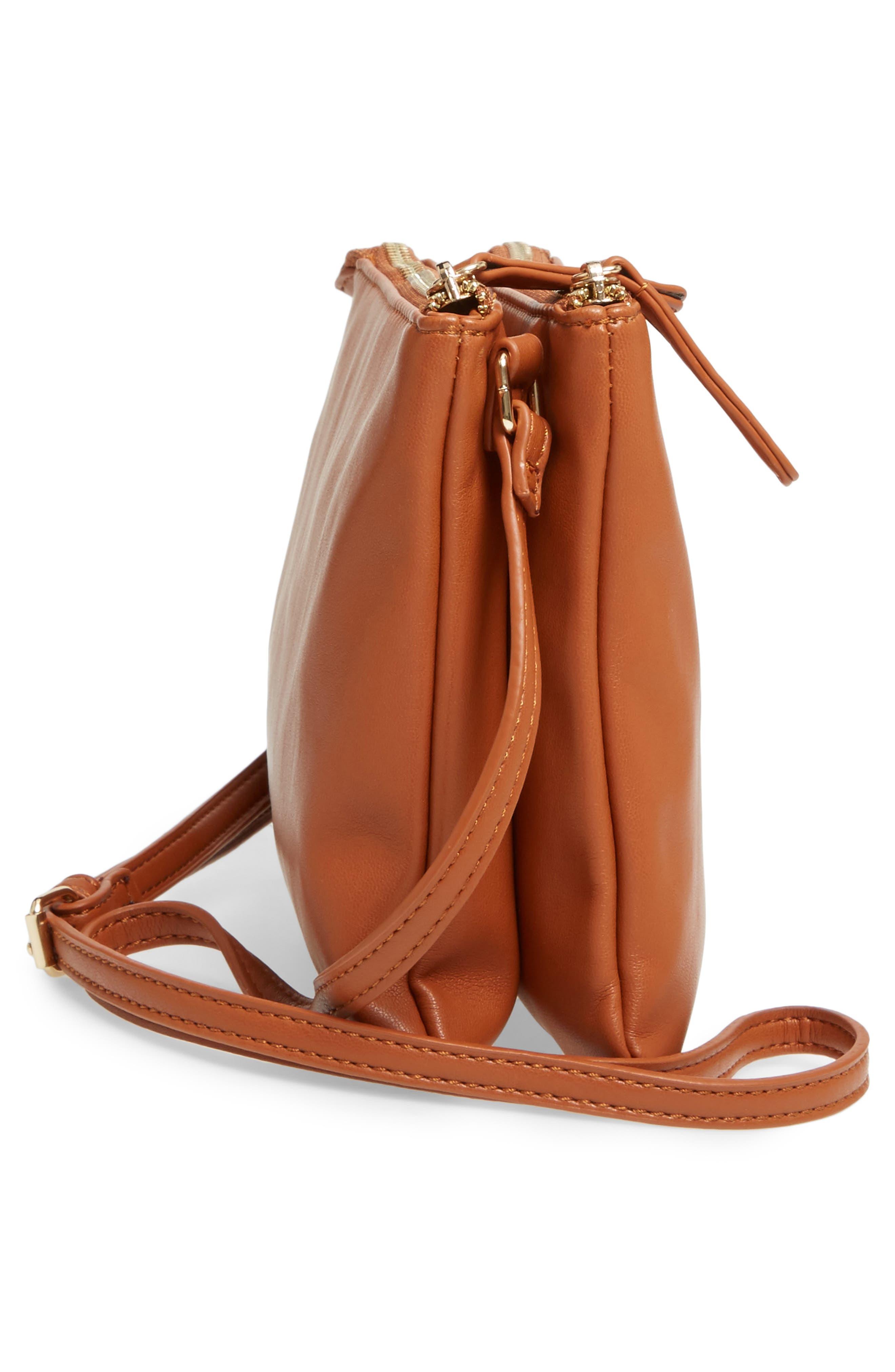 Madden Faux Leather Pouch Crossbody Bag,                             Alternate thumbnail 4, color,                             Cognac