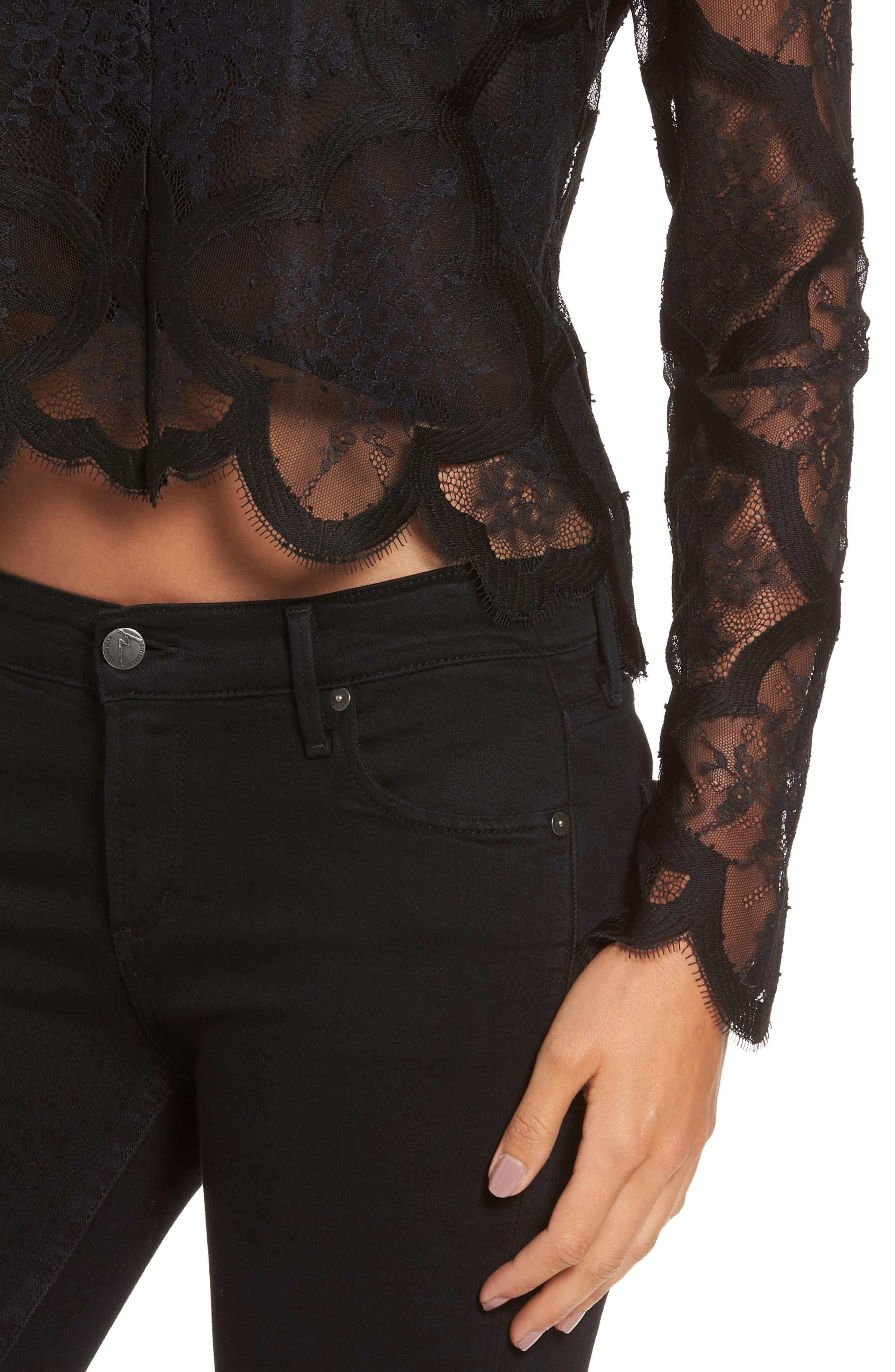Lace Crop Top,                             Alternate thumbnail 4, color,                             Black