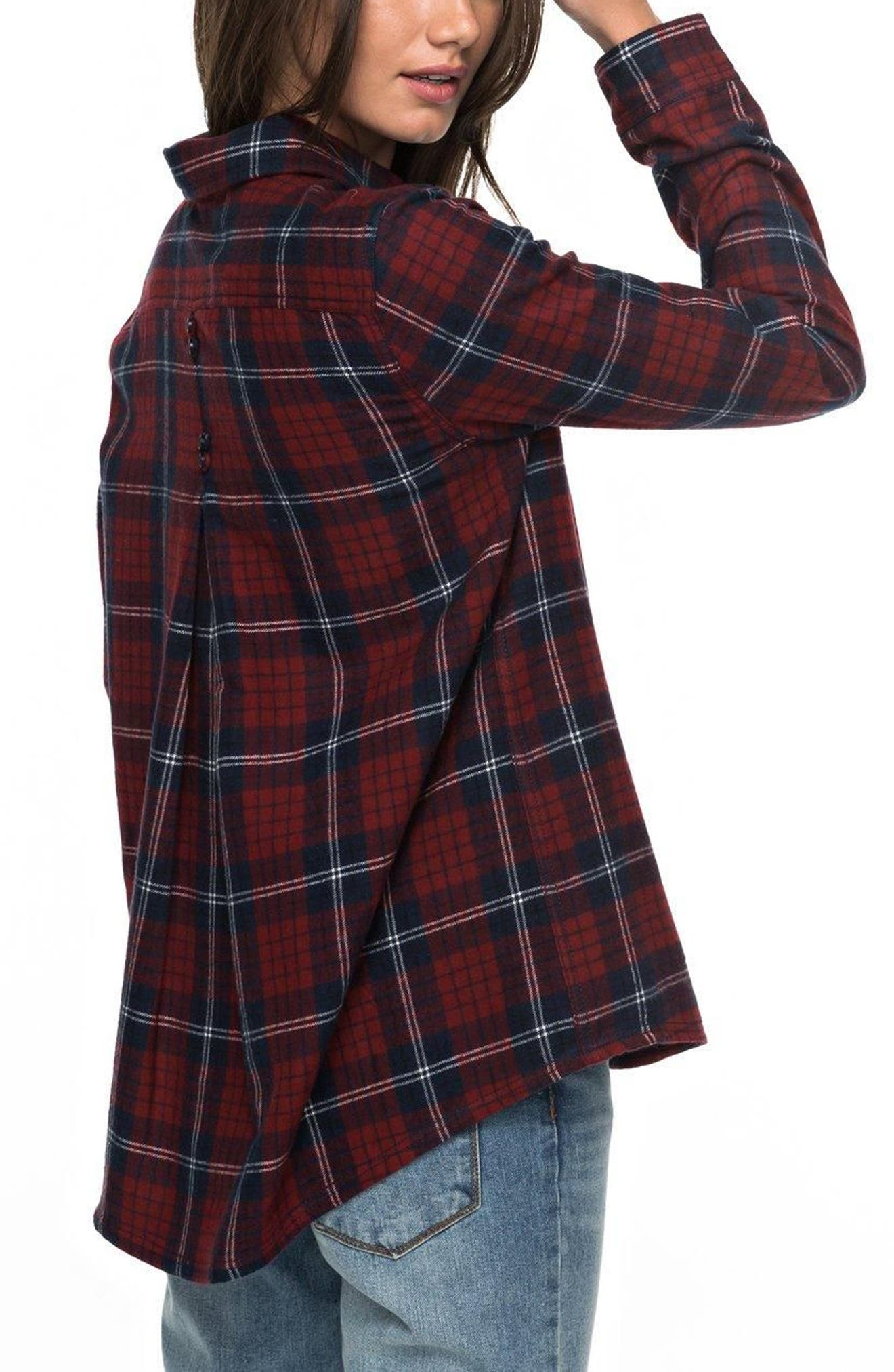 Alternate Image 4  - Roxy Heavy Feelings Plaid Shirt