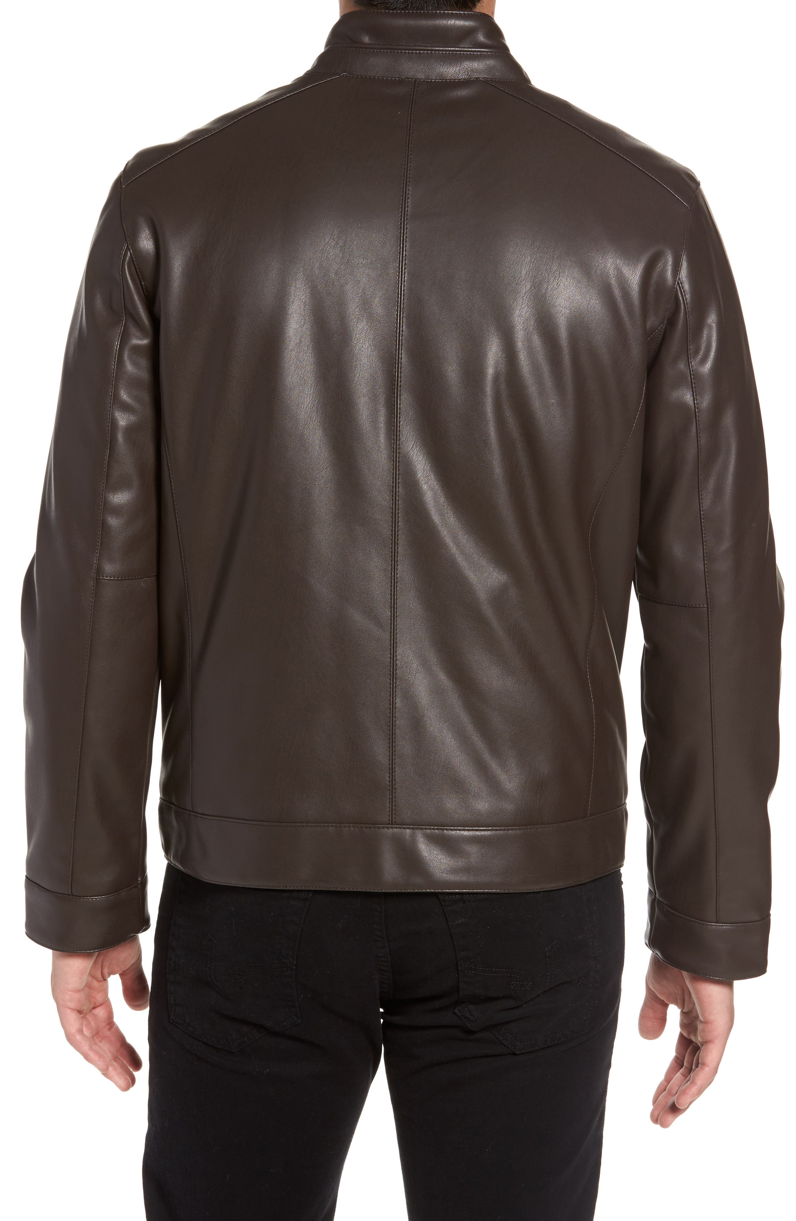 Faux Leather Jacket,                             Alternate thumbnail 2, color,                             Dark Brown