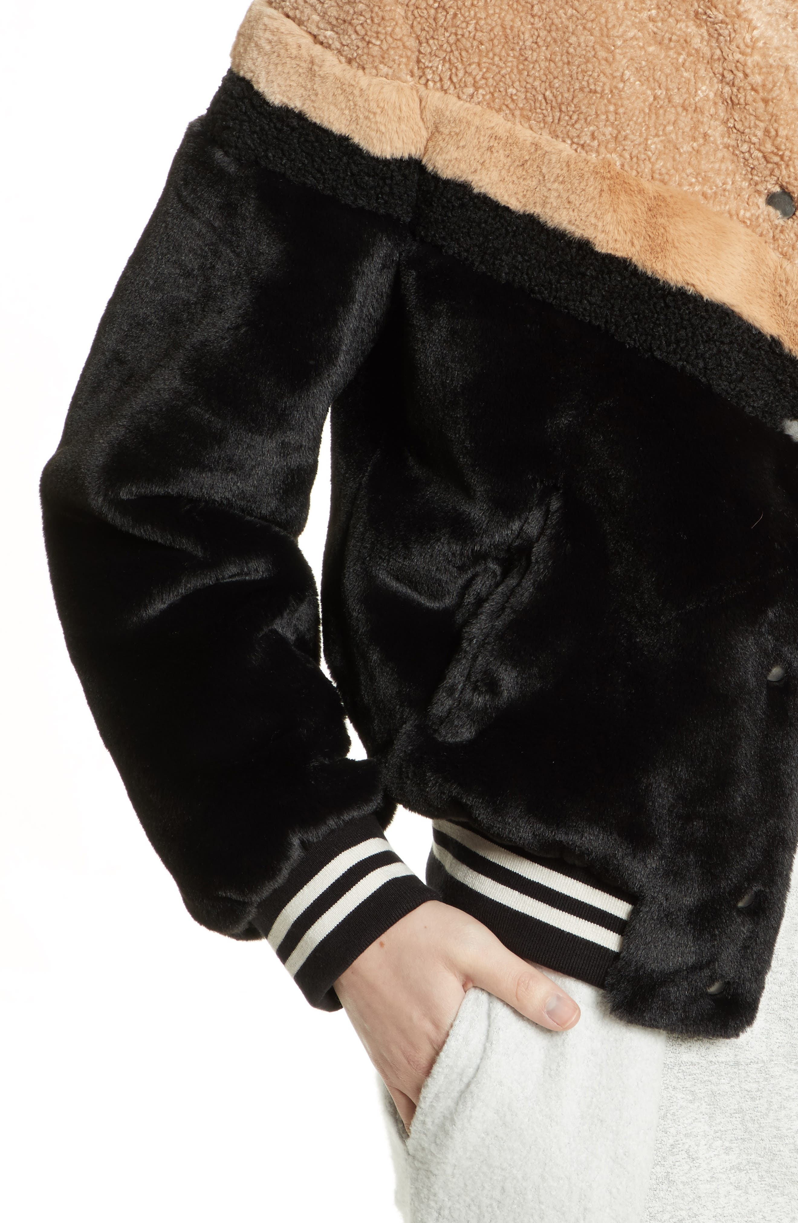 Mixed Faux Fur Bomber Jacket,                             Alternate thumbnail 4, color,                             Black