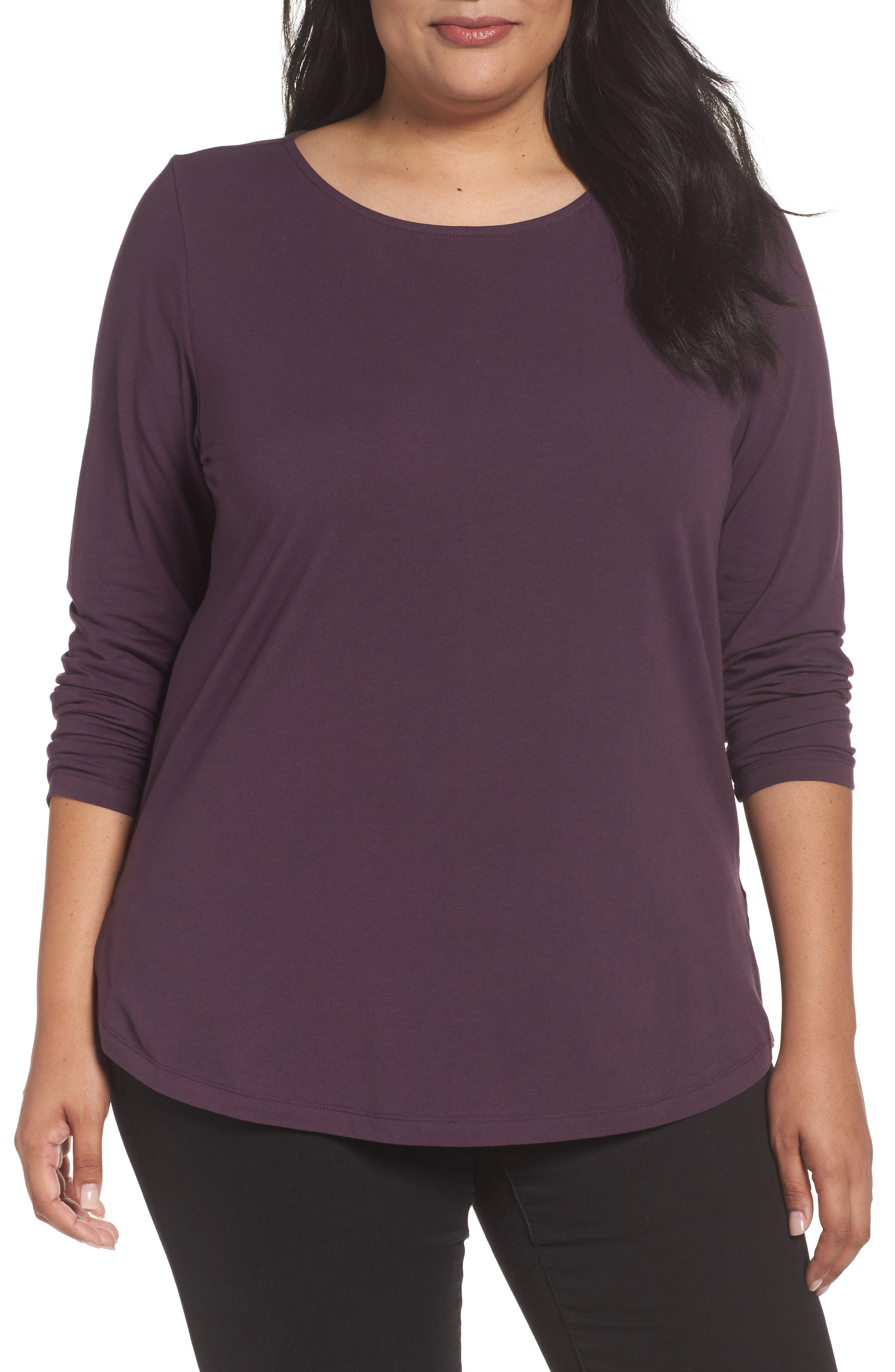 Alternate Image 1 Selected - Sejour Ballet Neck Long Sleeve Tee (Plus Size)