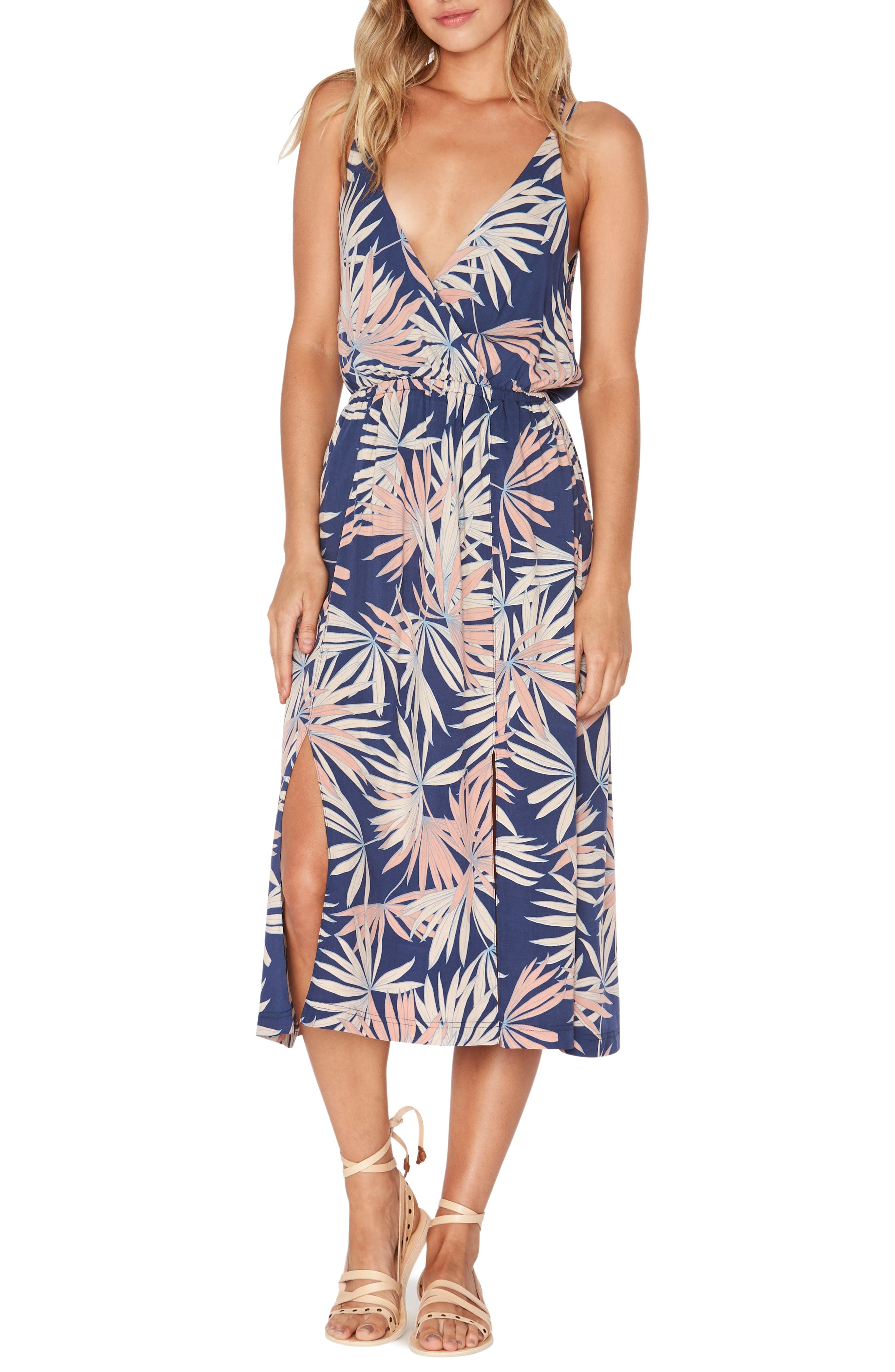 Tori Palm Print Cover-Up Slipdress,                         Main,                         color, Navy
