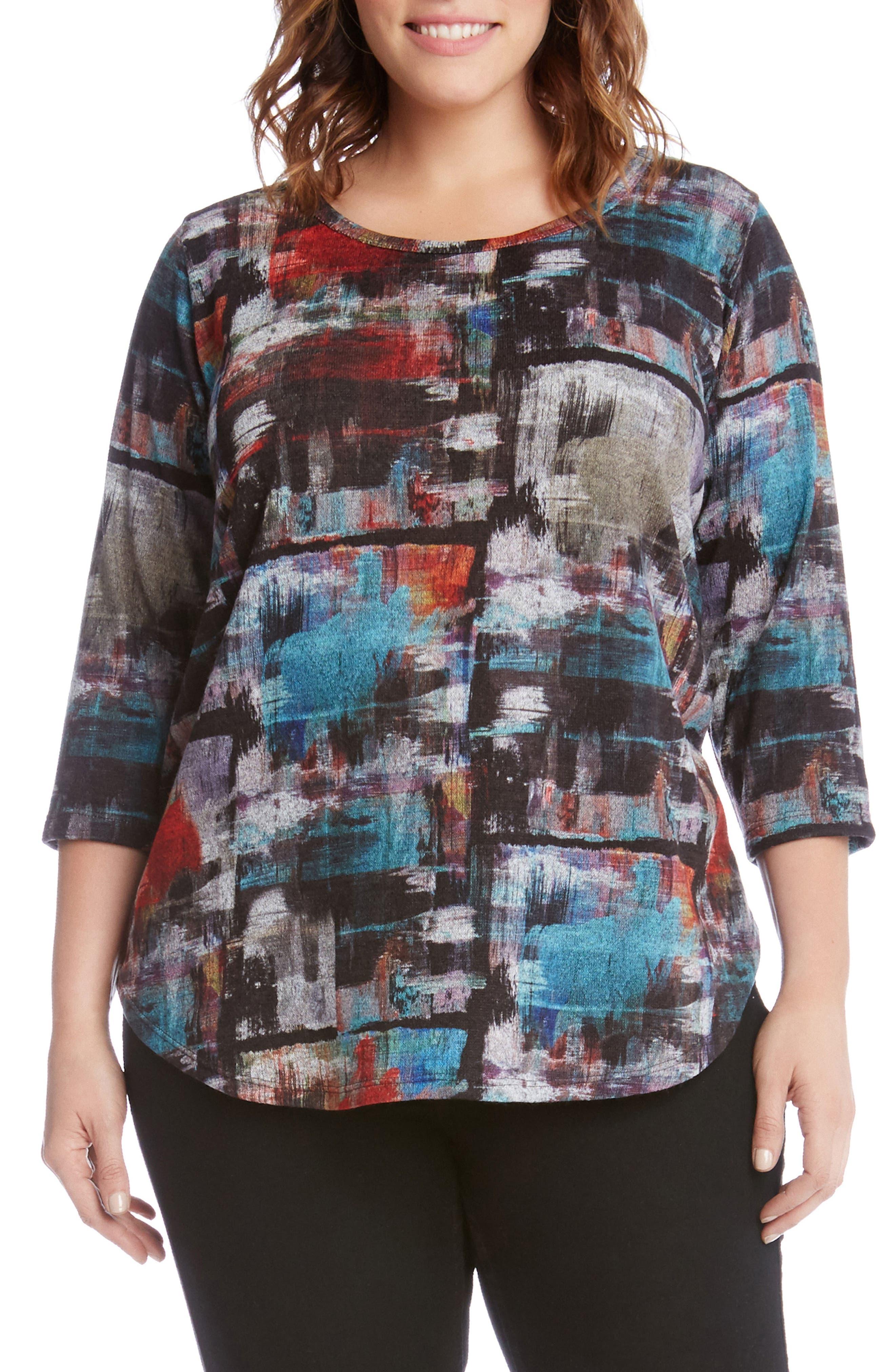 Karen Kane Brushstroke Print Top (Plus Size)