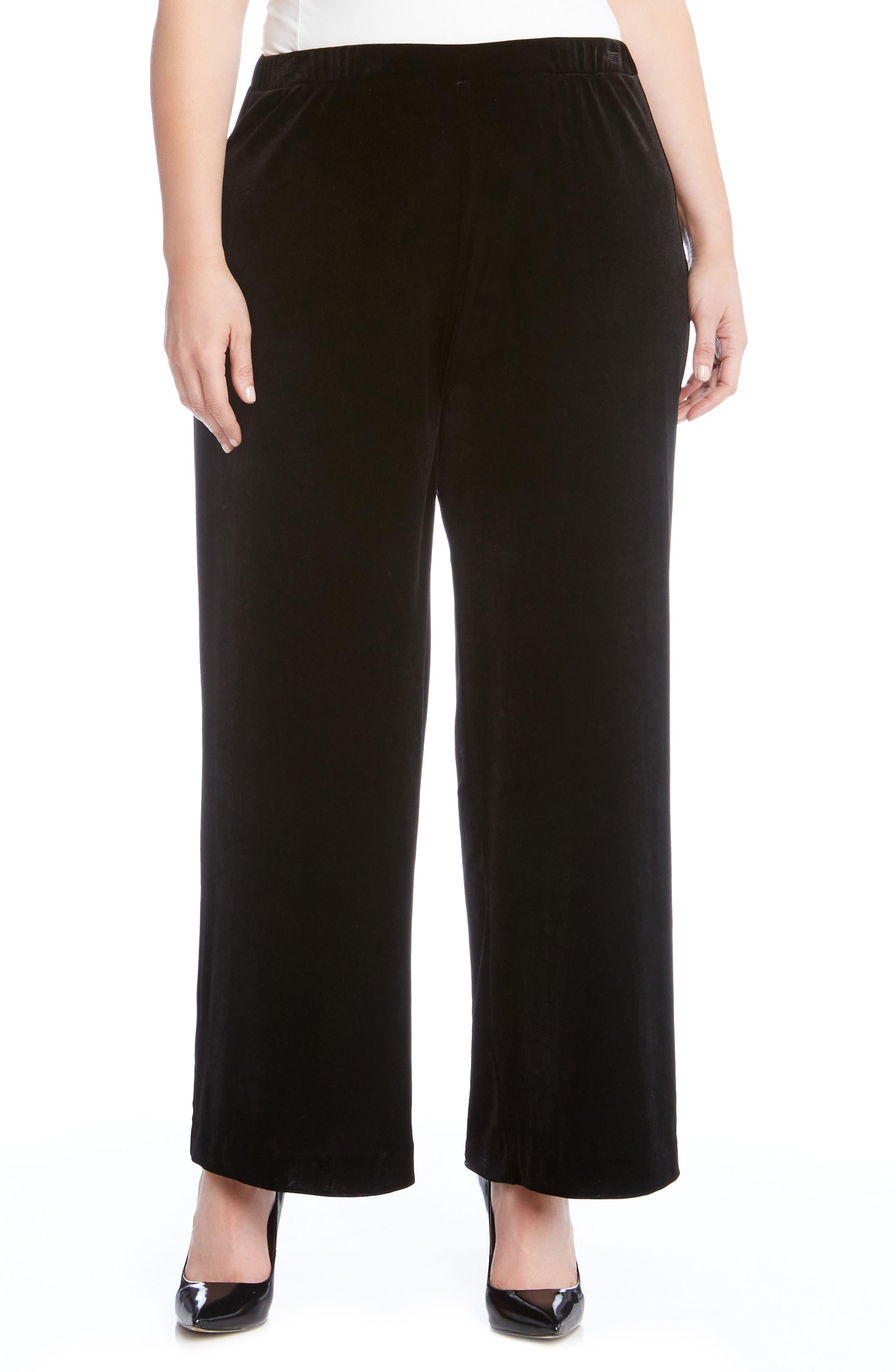Main Image - Karen Kane Wide Leg Velvet Pants (Plus Size)