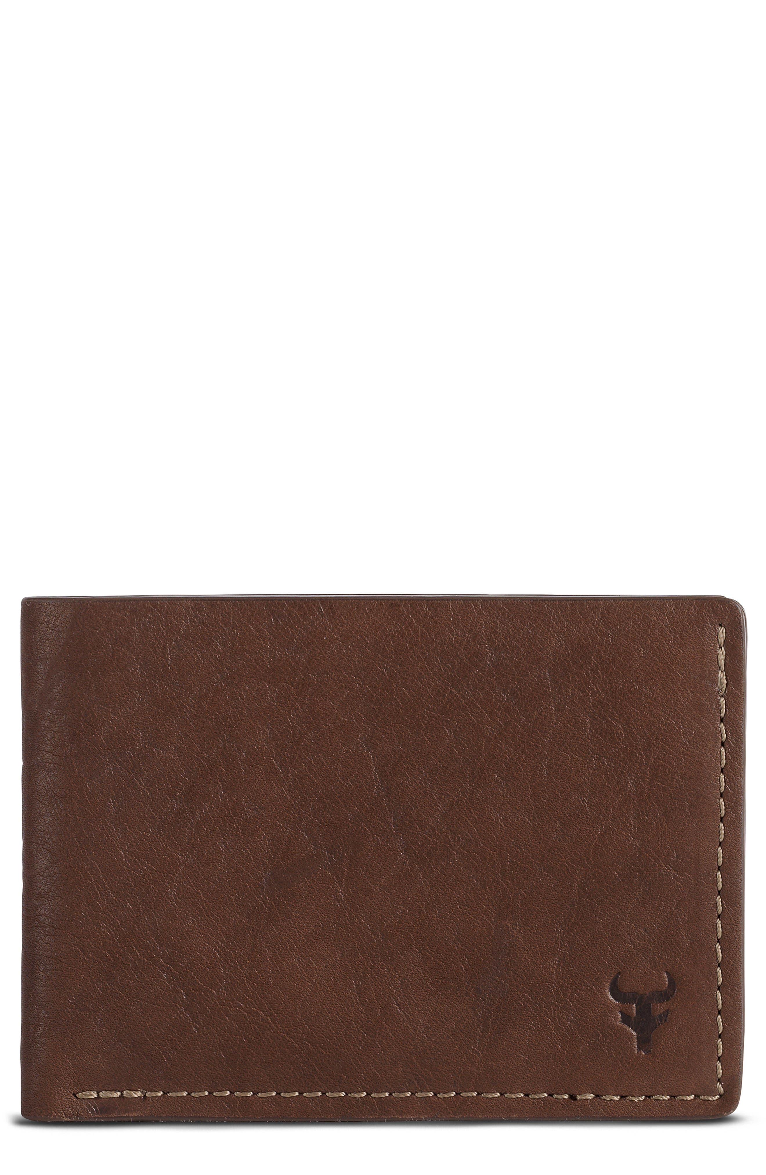 Jackson Super Slim Wallet,                             Main thumbnail 1, color,                             Brown Horween American Bison