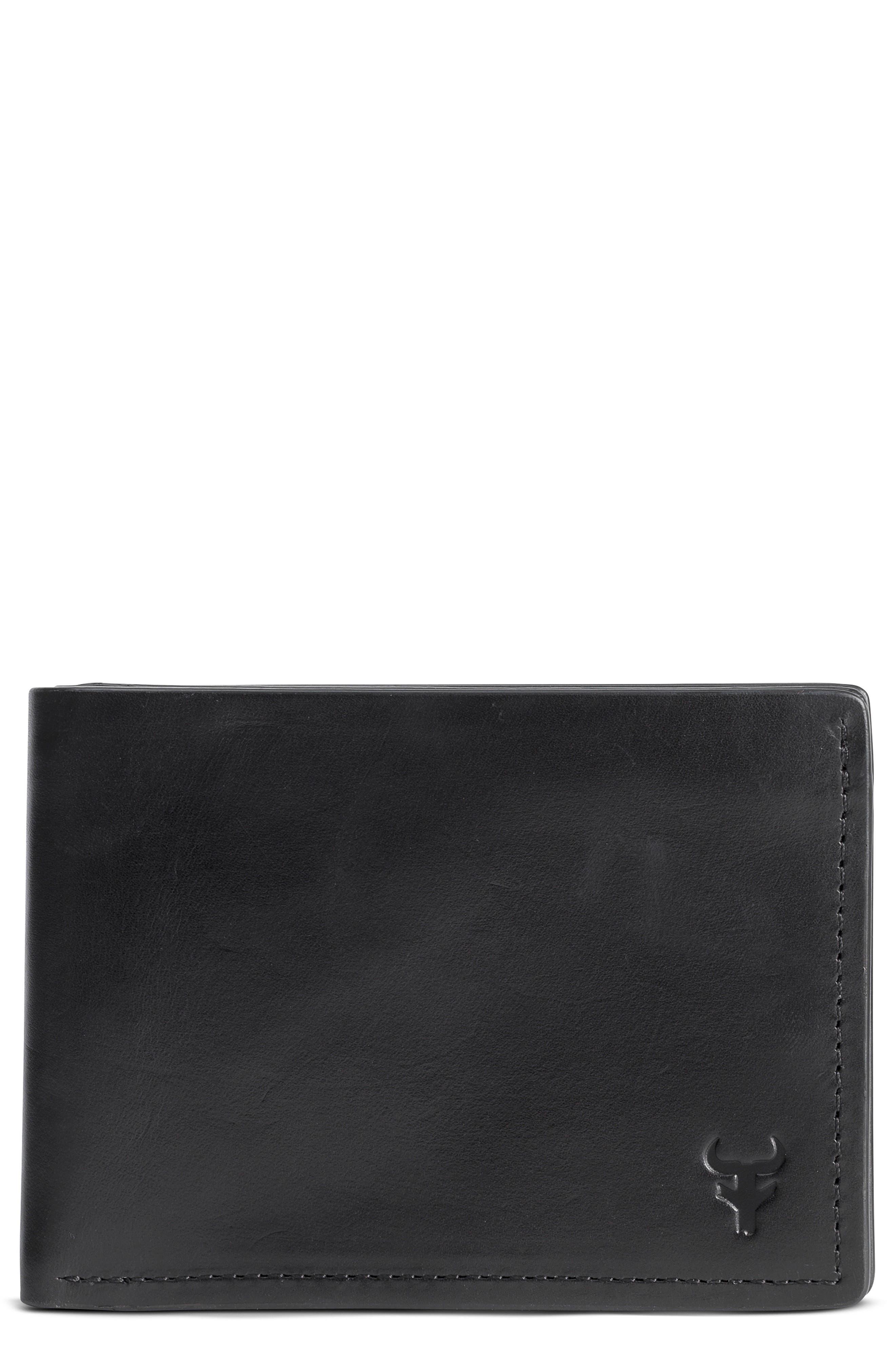 Colton Super Slim Wallet,                         Main,                         color, Black Waxy Calfskin