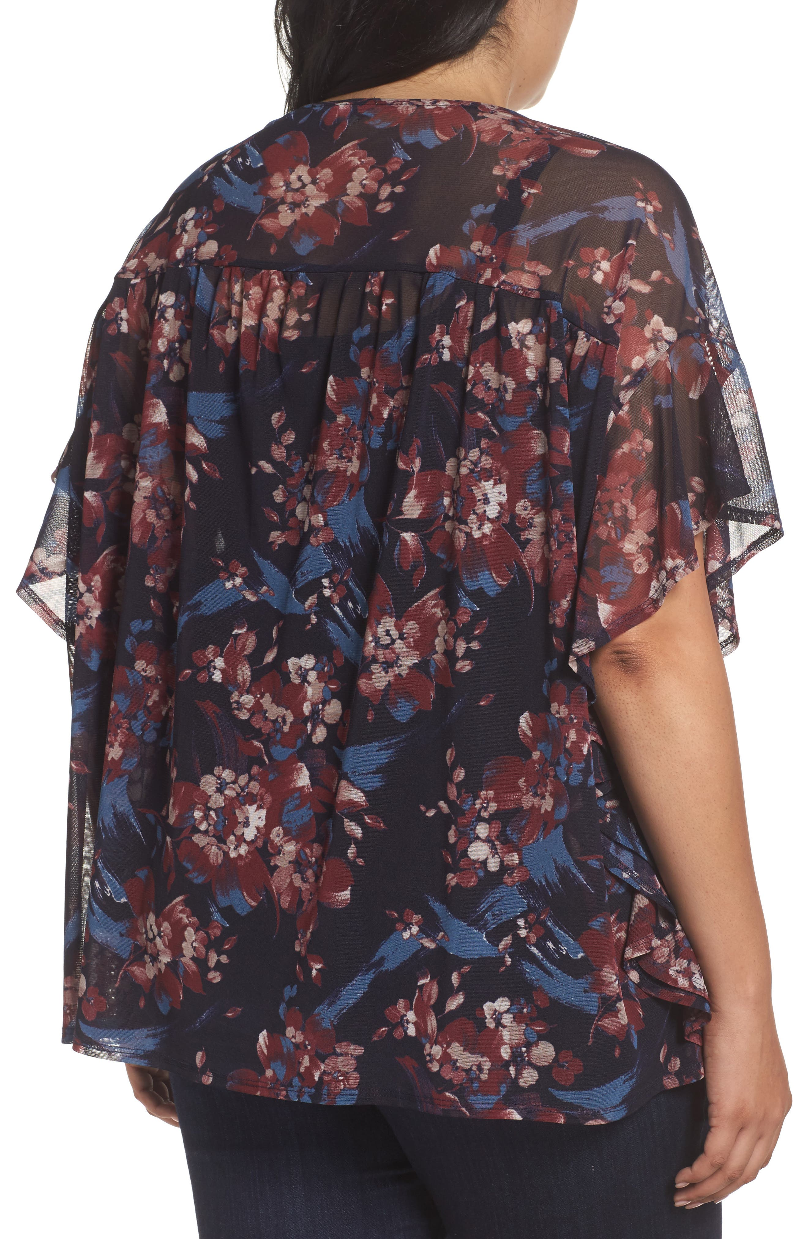 Ruffle Mesh Top,                             Alternate thumbnail 2, color,                             Painterly Floral Print
