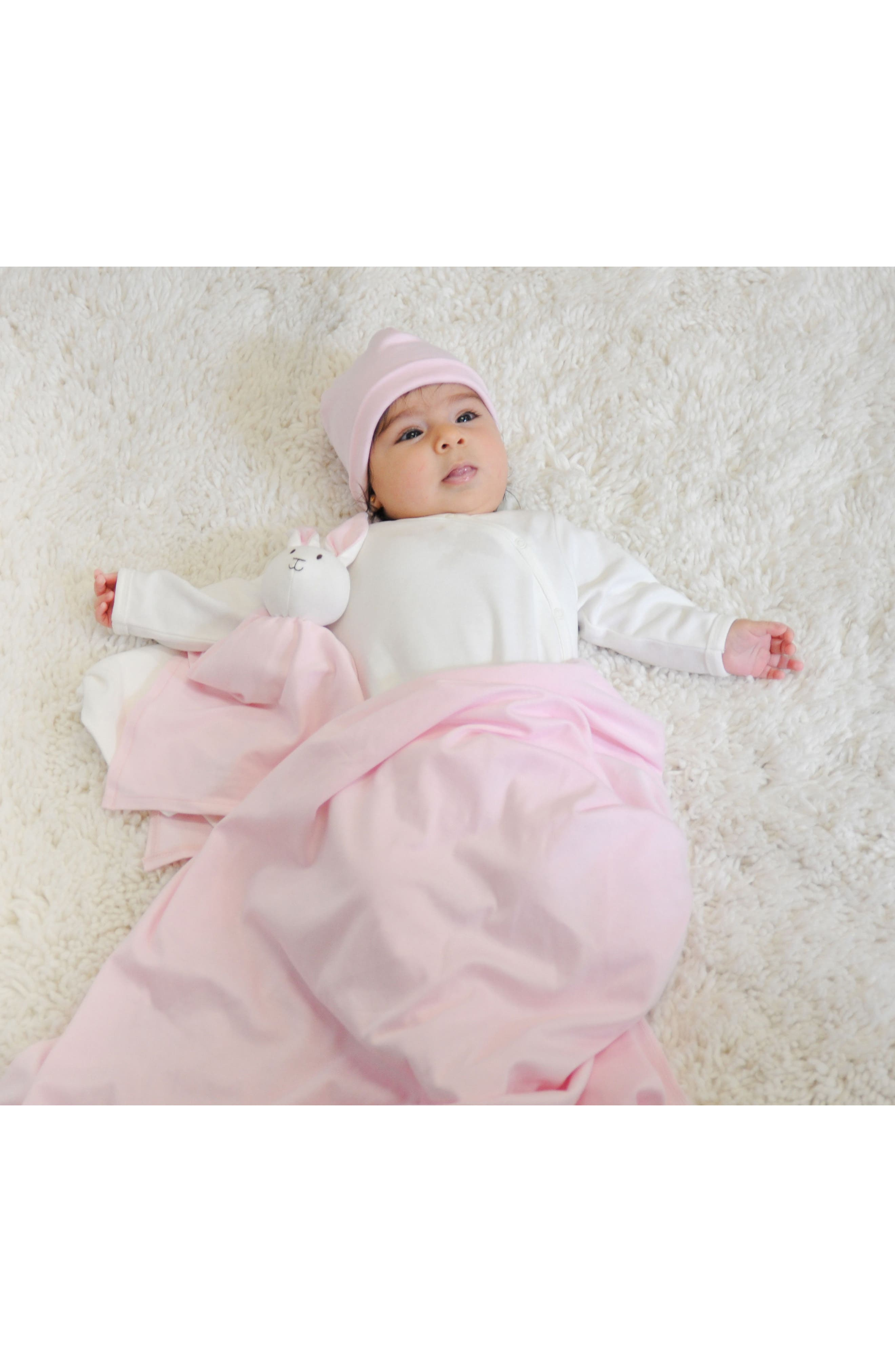 4-Piece Swaddle Blanket, Beanie & Rabbit Lovey Toy Set,                             Alternate thumbnail 2, color,                             Pink