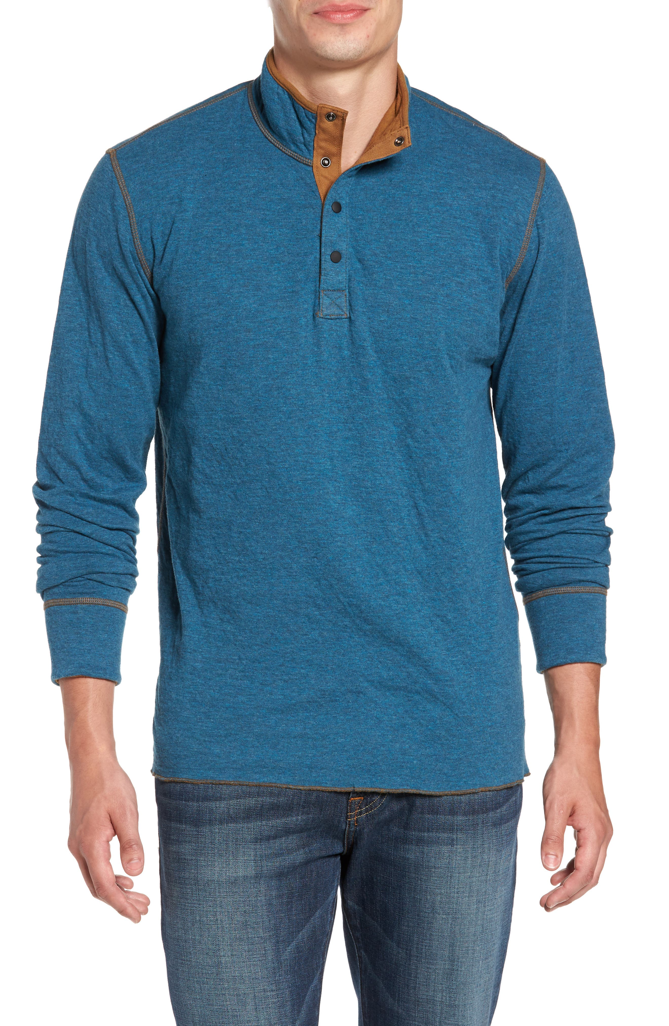 Jeremiah Mitch Reversible Slubbed Quarter Snap Pullover