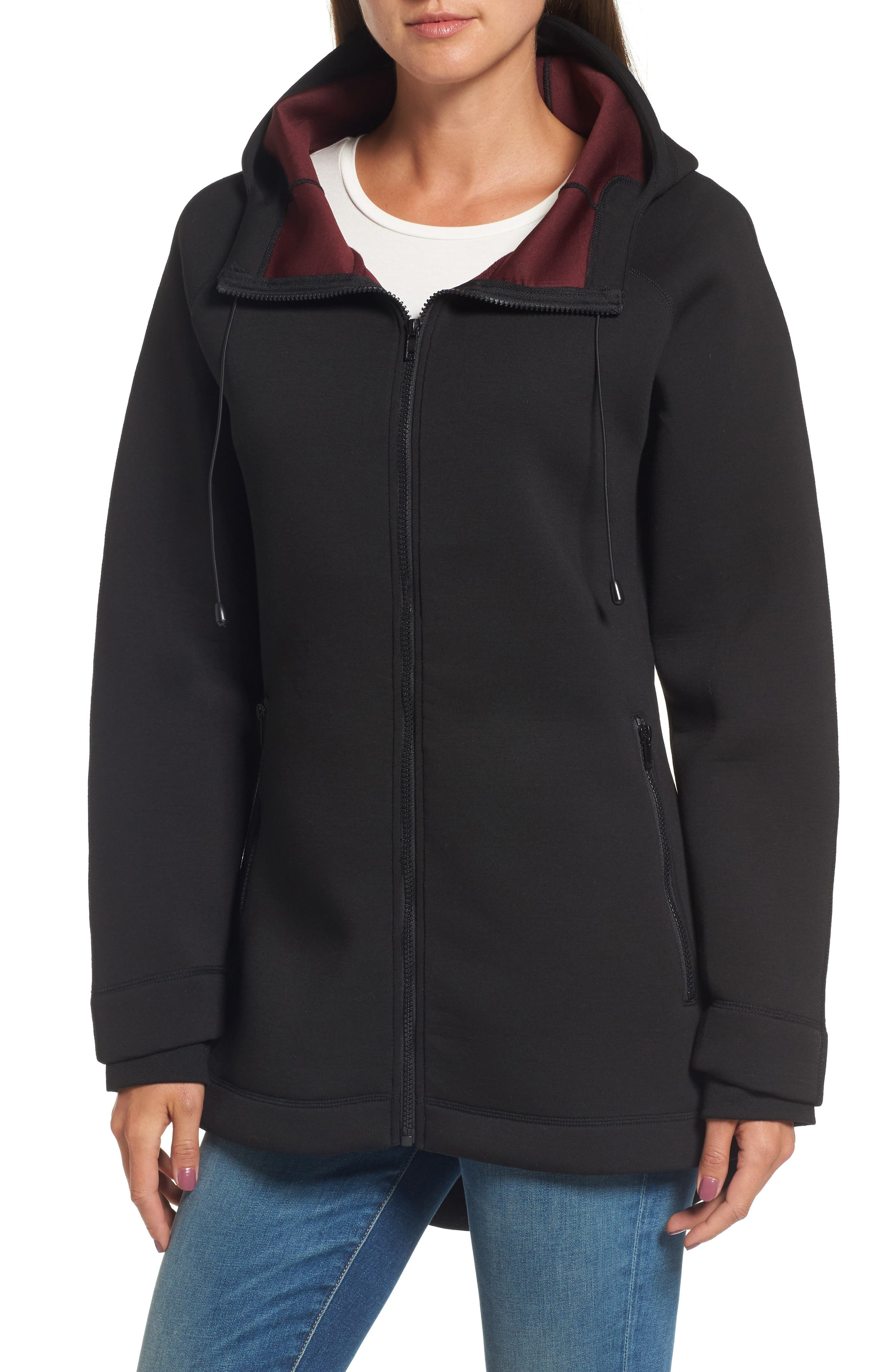 Mono Knit Jacket,                         Main,                         color, Black/ Burgundy