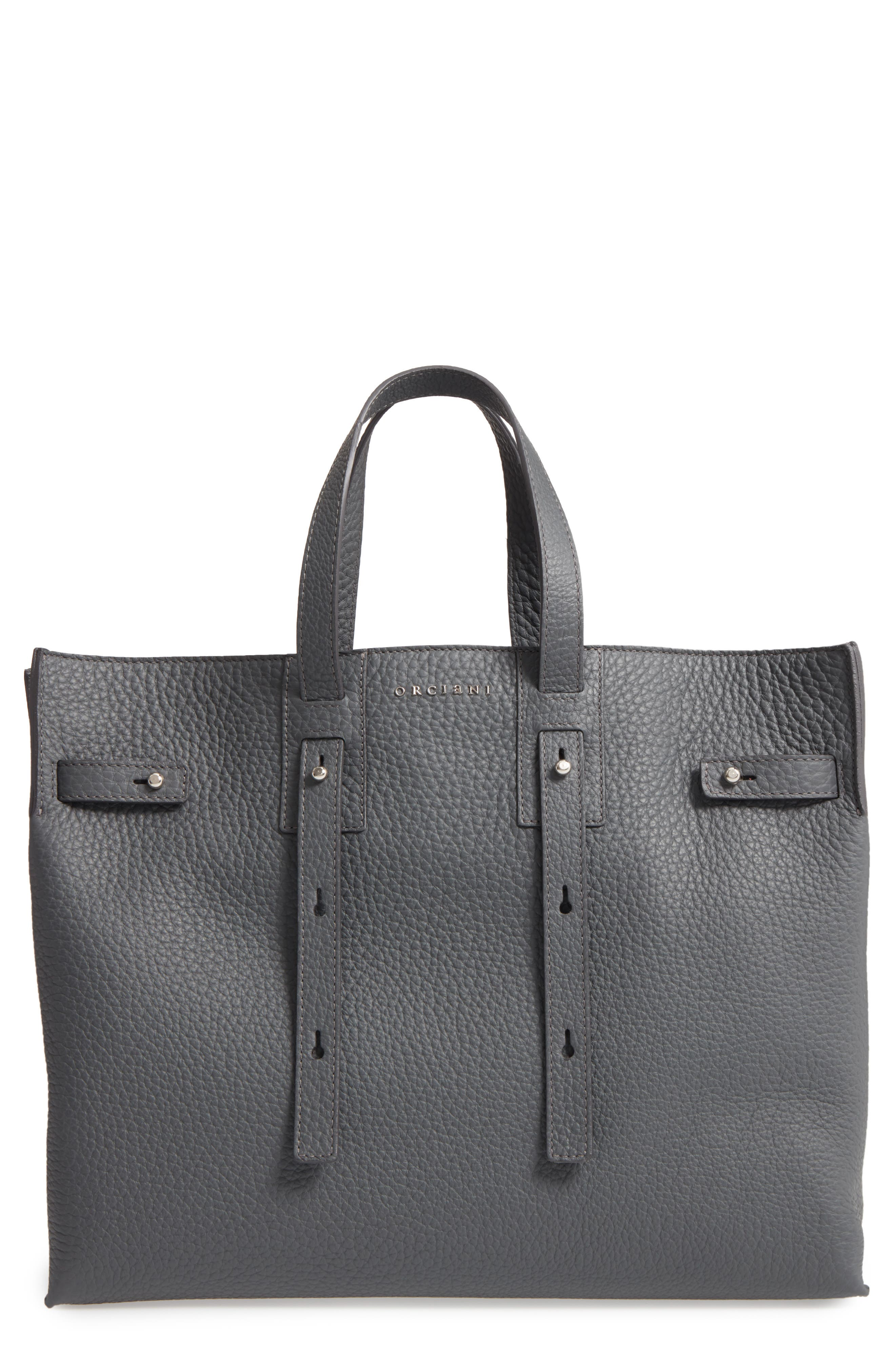 Petra Soft Calfskin Leather Tote,                         Main,                         color, Smoke