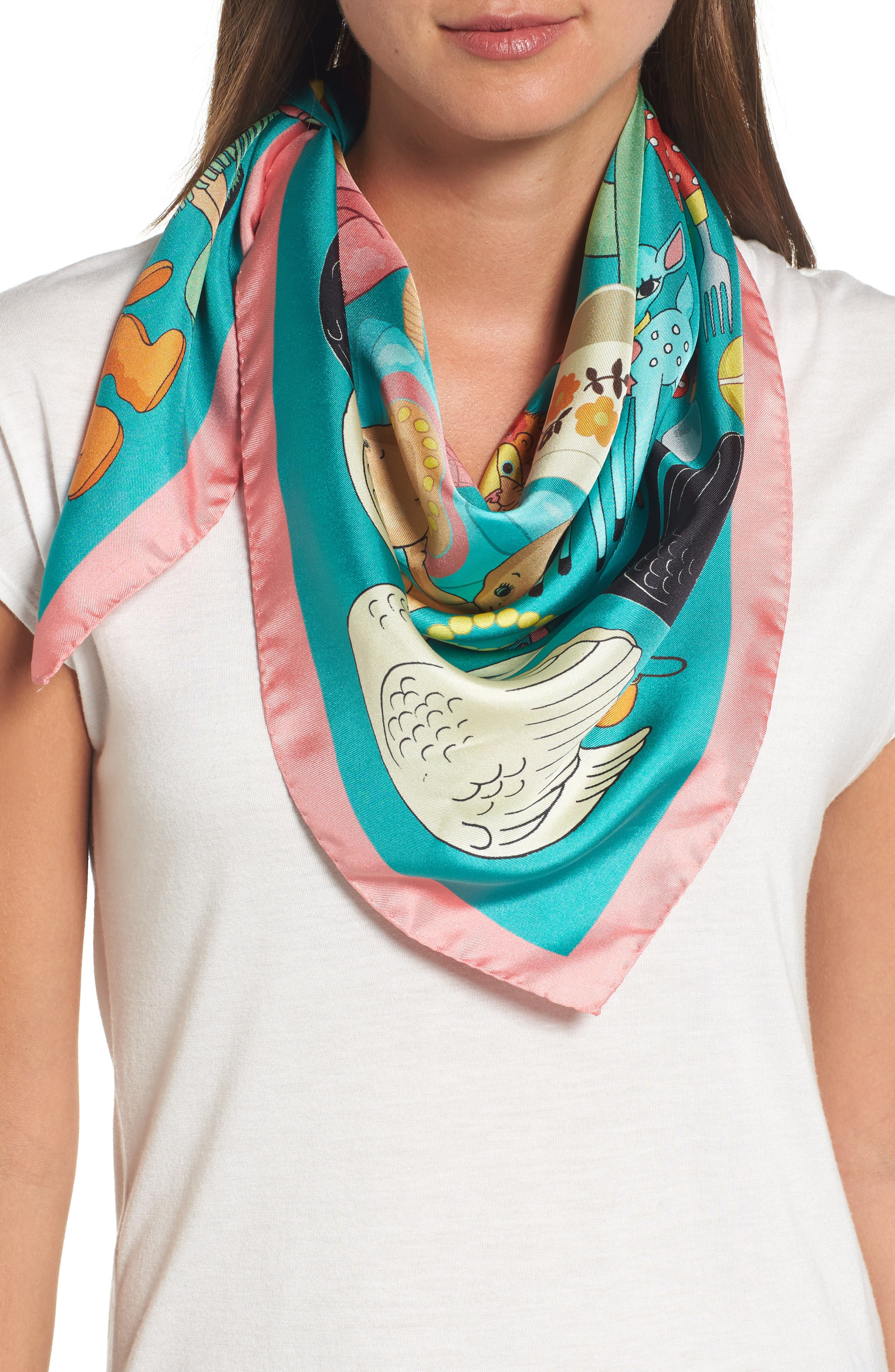 Jumble Sale Square Silk Scarf,                             Main thumbnail 1, color,                             Turquoise