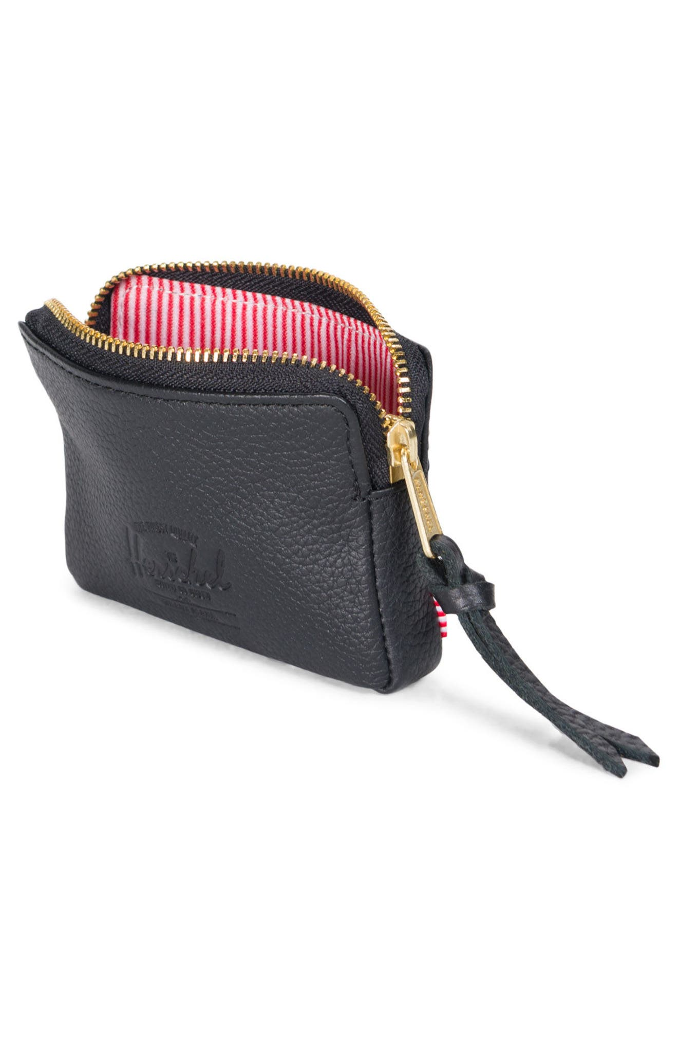 Leather Zip Pouch,                             Alternate thumbnail 3, color,                             Black Pebbled Leather