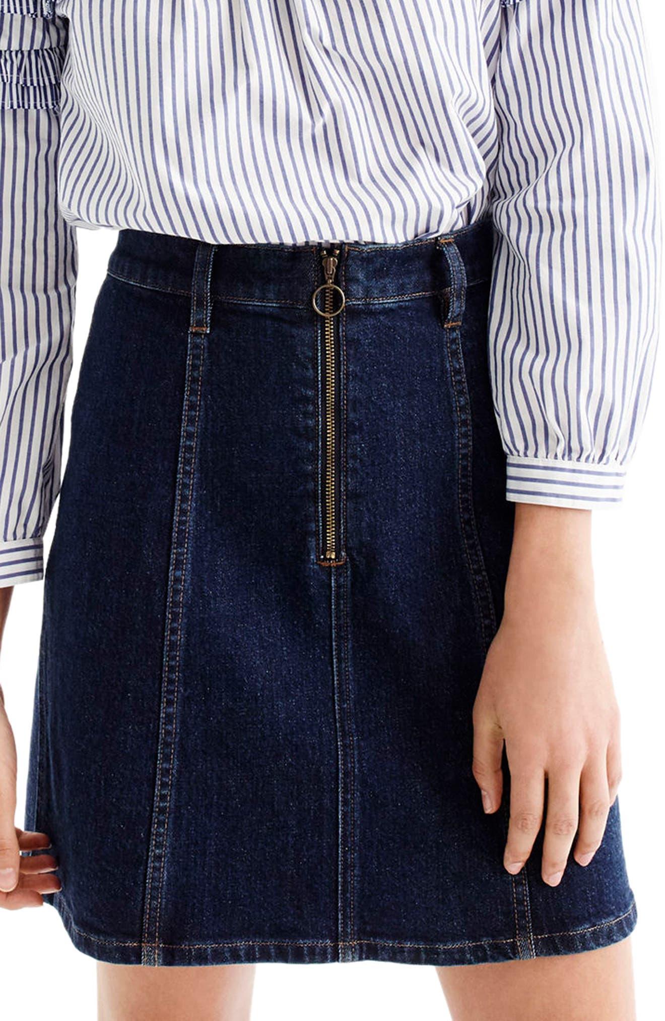 J.Crew Zip Front Denim Skirt