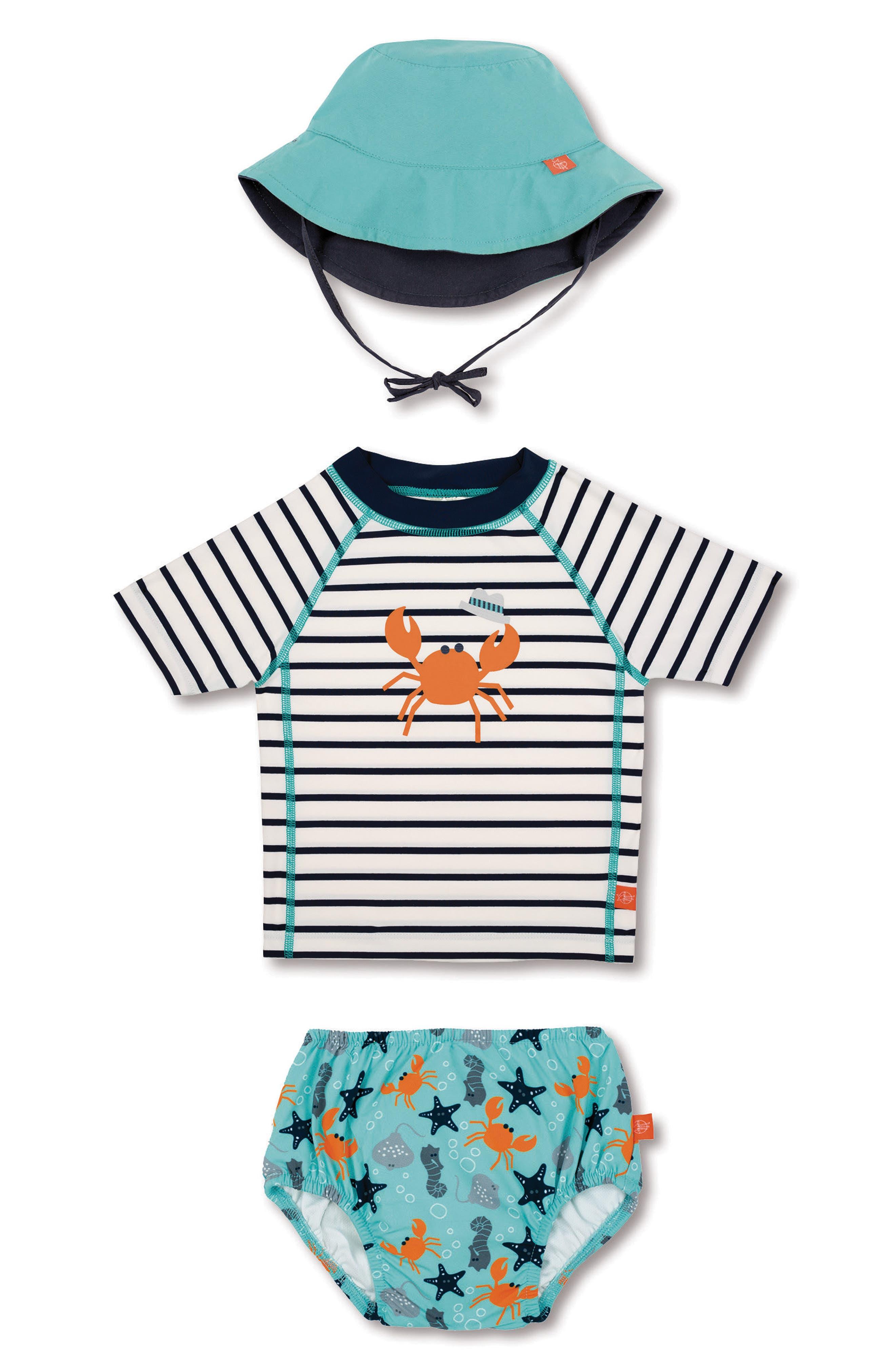 Lassig Two-Piece Rashguard Swimsuit & Hat Set,                         Main,                         color, Starfish