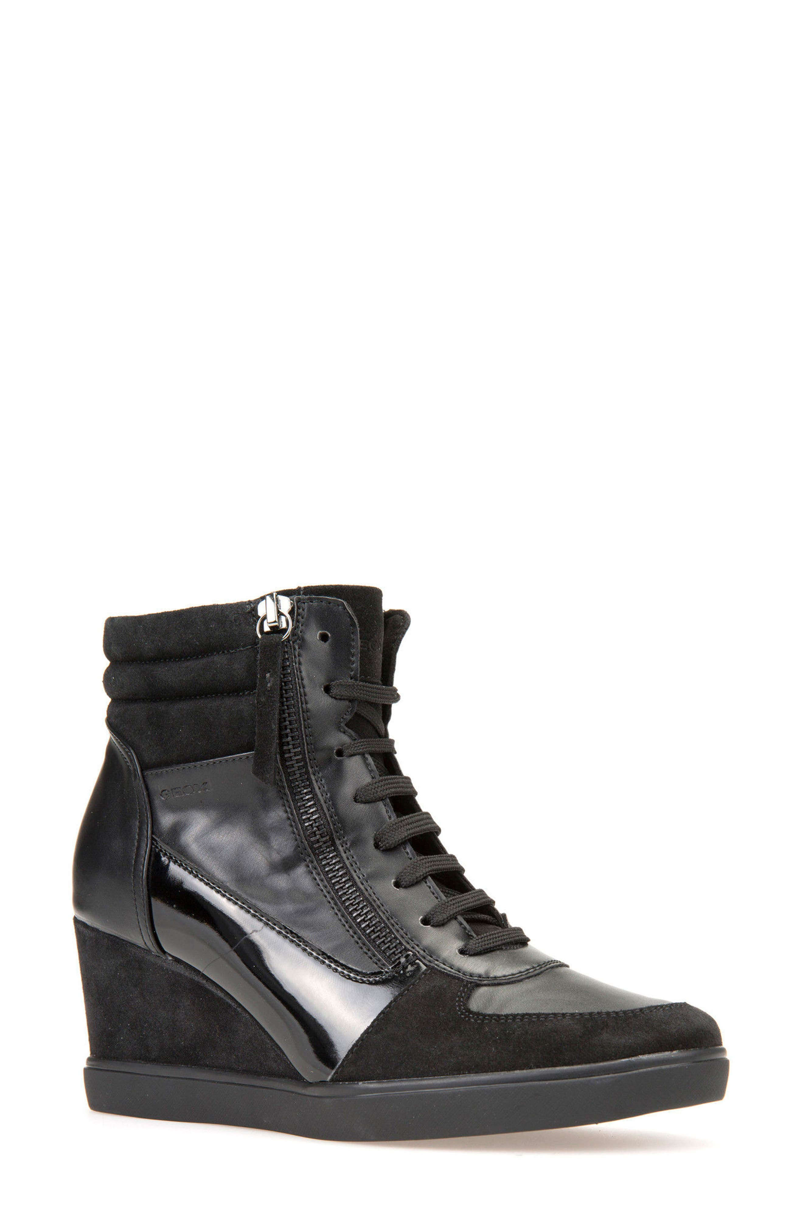 Main Image - Geox Eleni Lace-Up Wedge Bootie (Women)