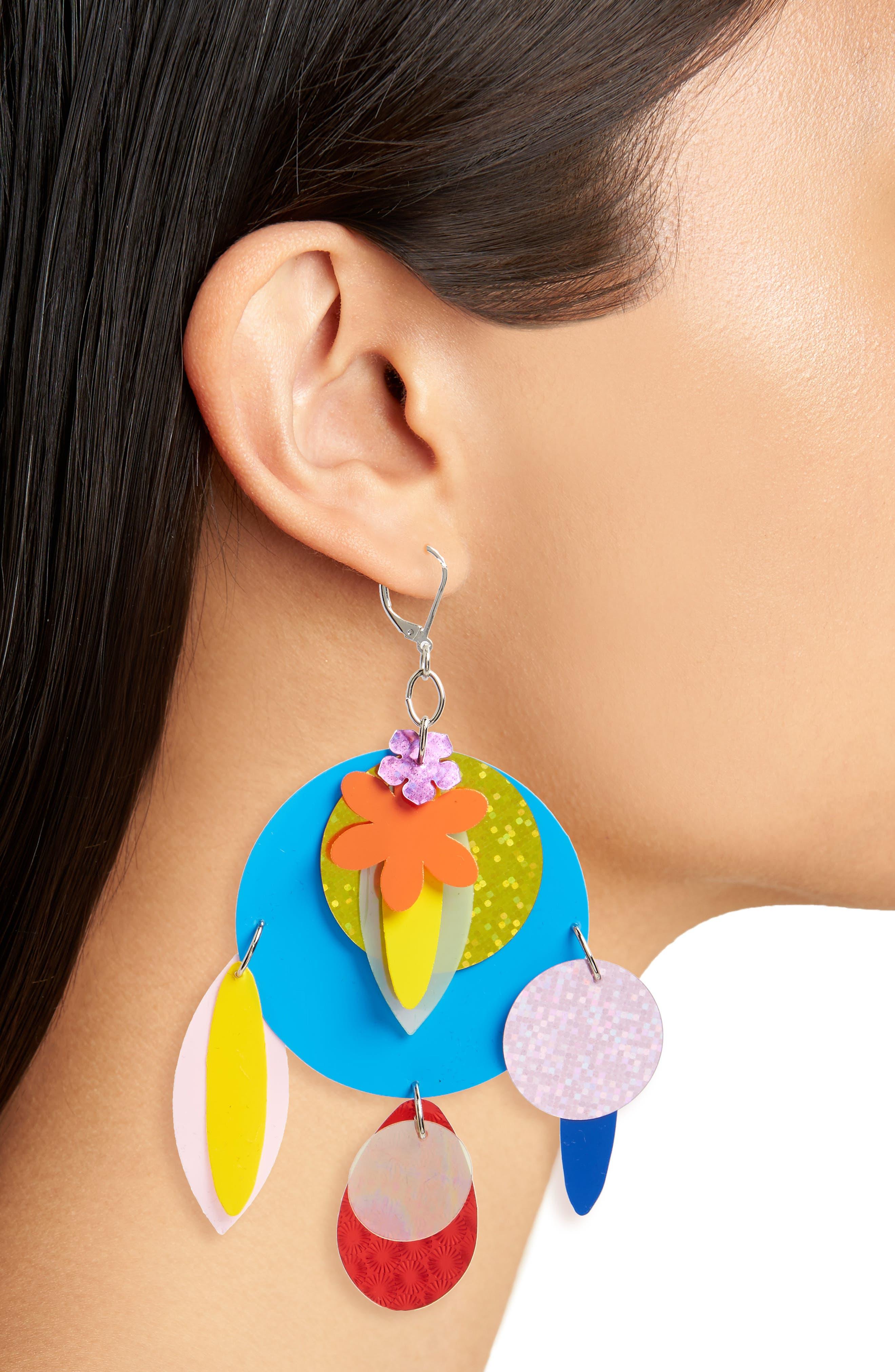 Sequin Statement Earrings,                             Alternate thumbnail 2, color,                             Multi