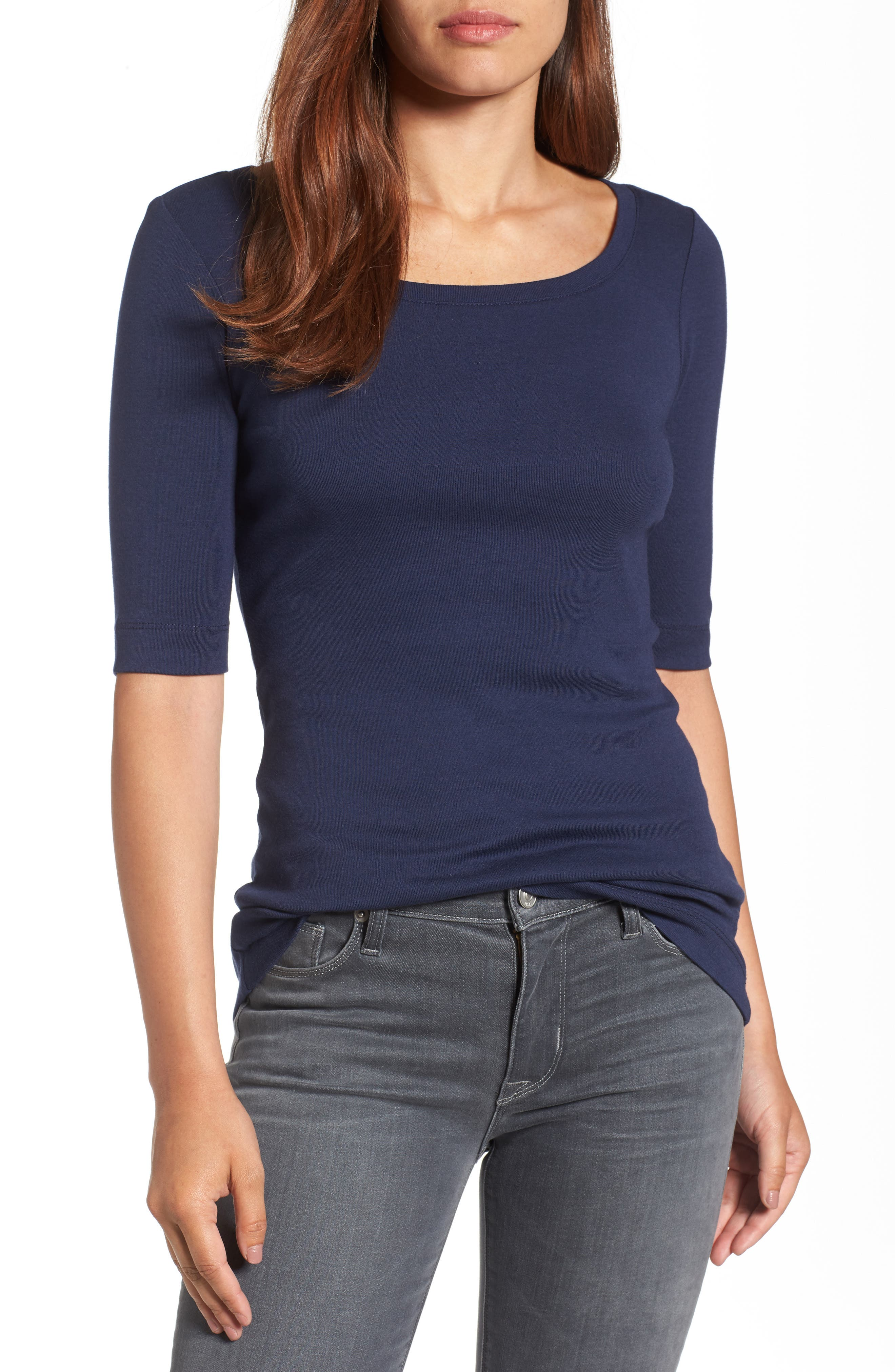 Ballet Neck Cotton & Modal Knit Elbow Sleeve Tee,                         Main,                         color, Navy Peacoat
