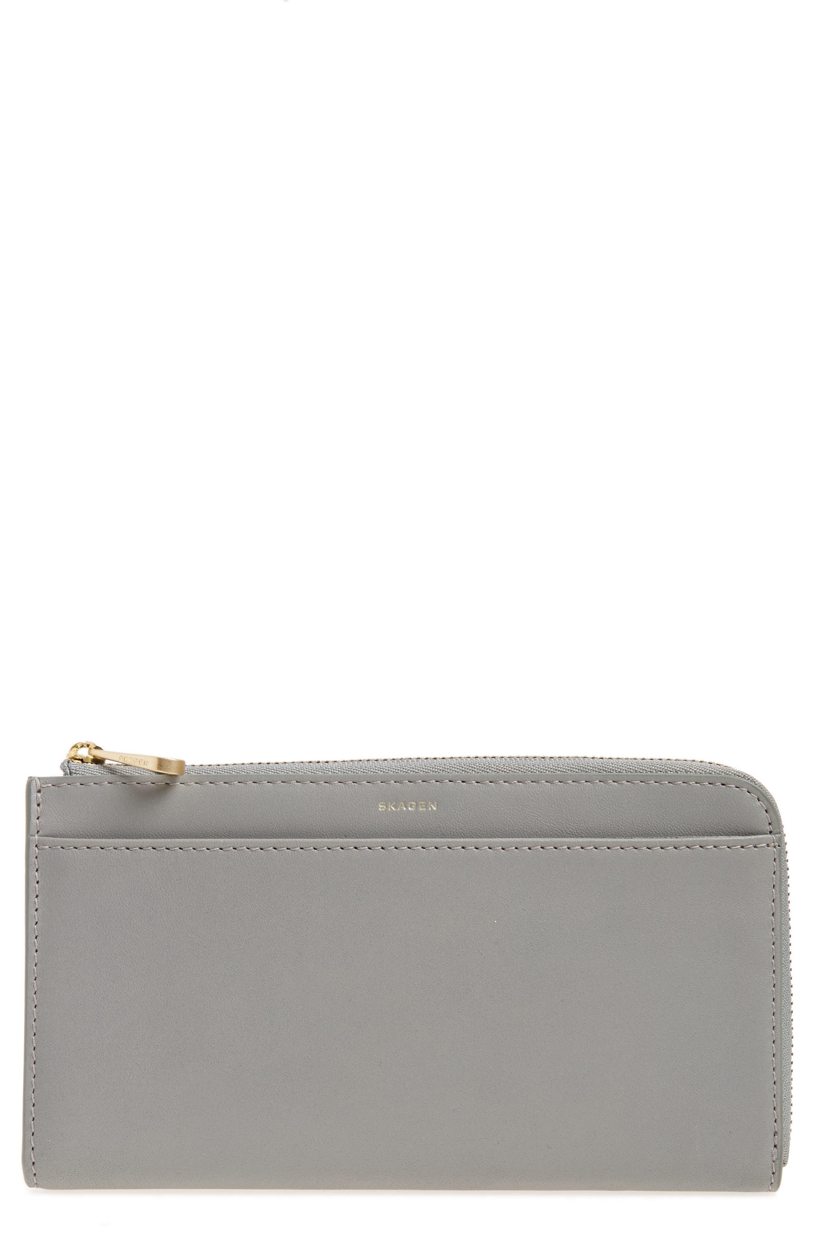 Leather Phone Wallet,                         Main,                         color, Light Ash