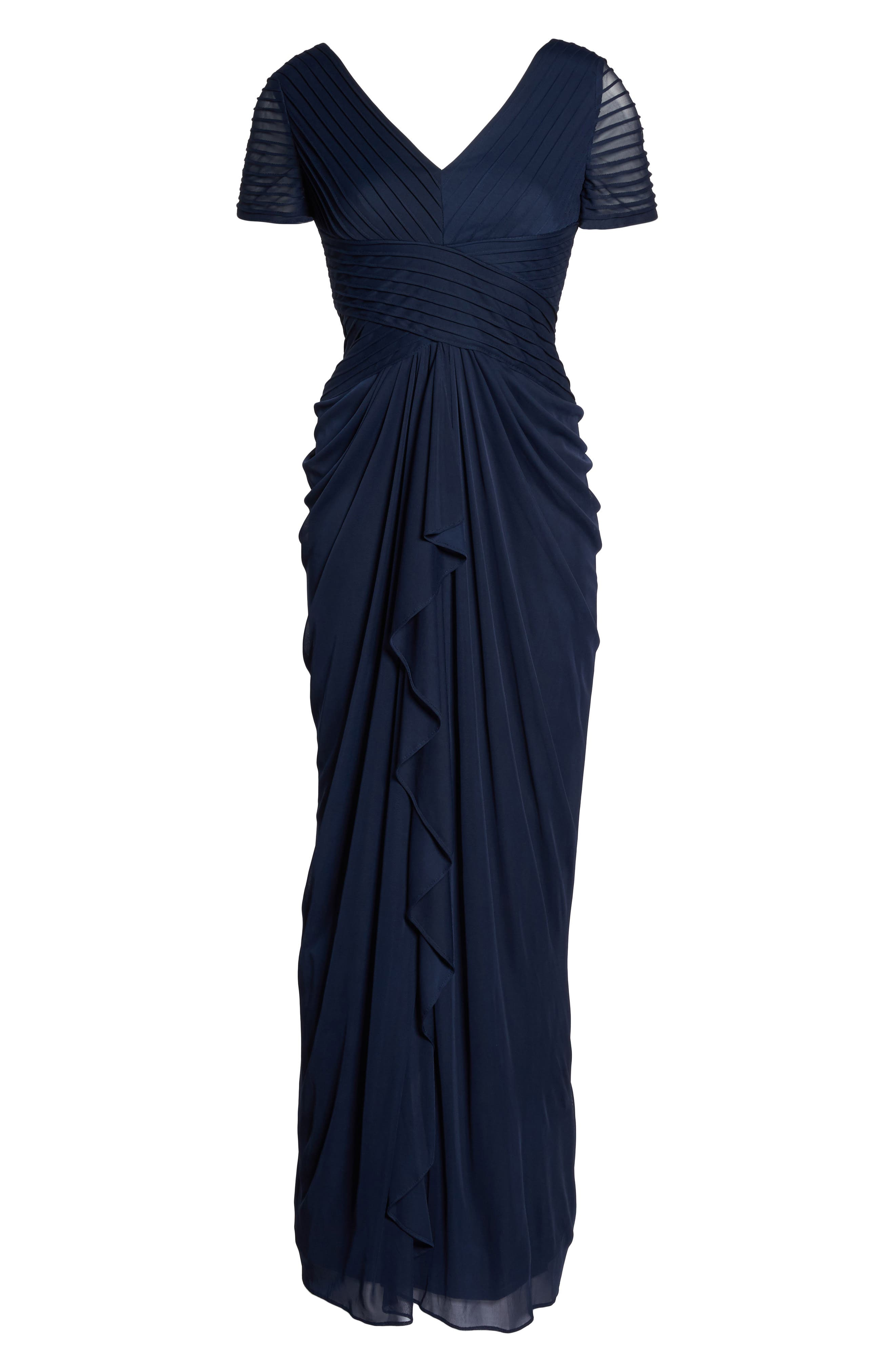 Draped Mesh Gown,                             Alternate thumbnail 6, color,                             Navy