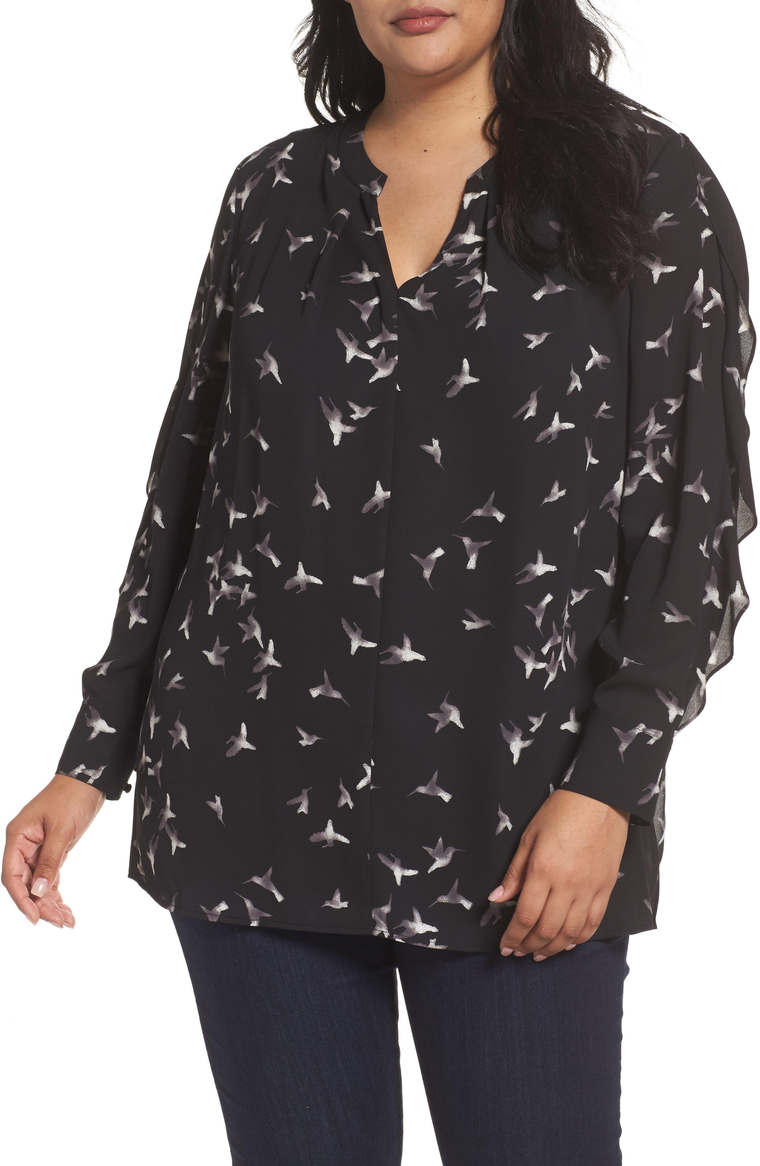 Split Neck Ruffle Sleeve Tunic,                         Main,                         color, Black-Ivory Print