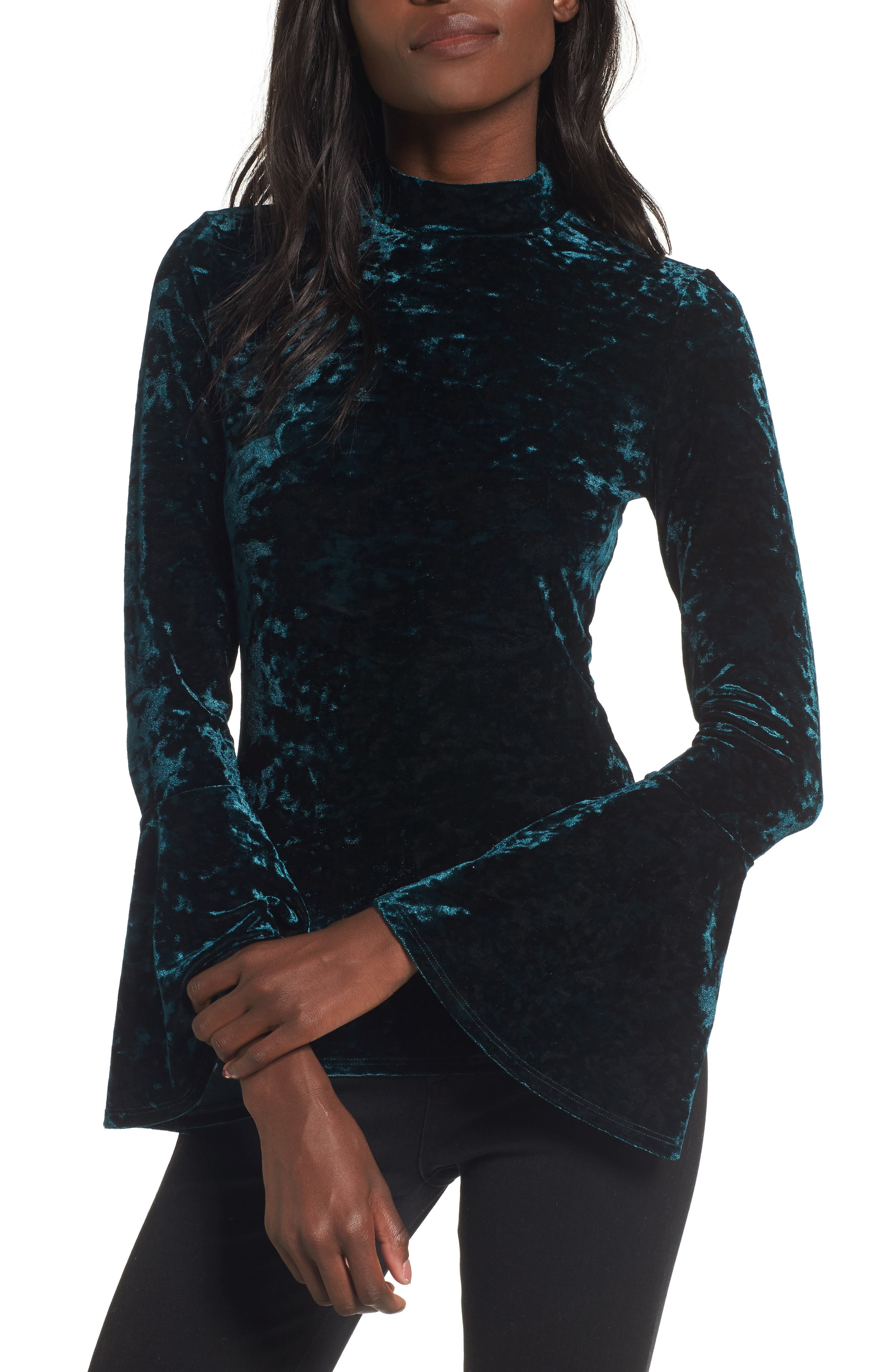 Victoria Crushed Velvet Bell Sleeve Top,                         Main,                         color, Green