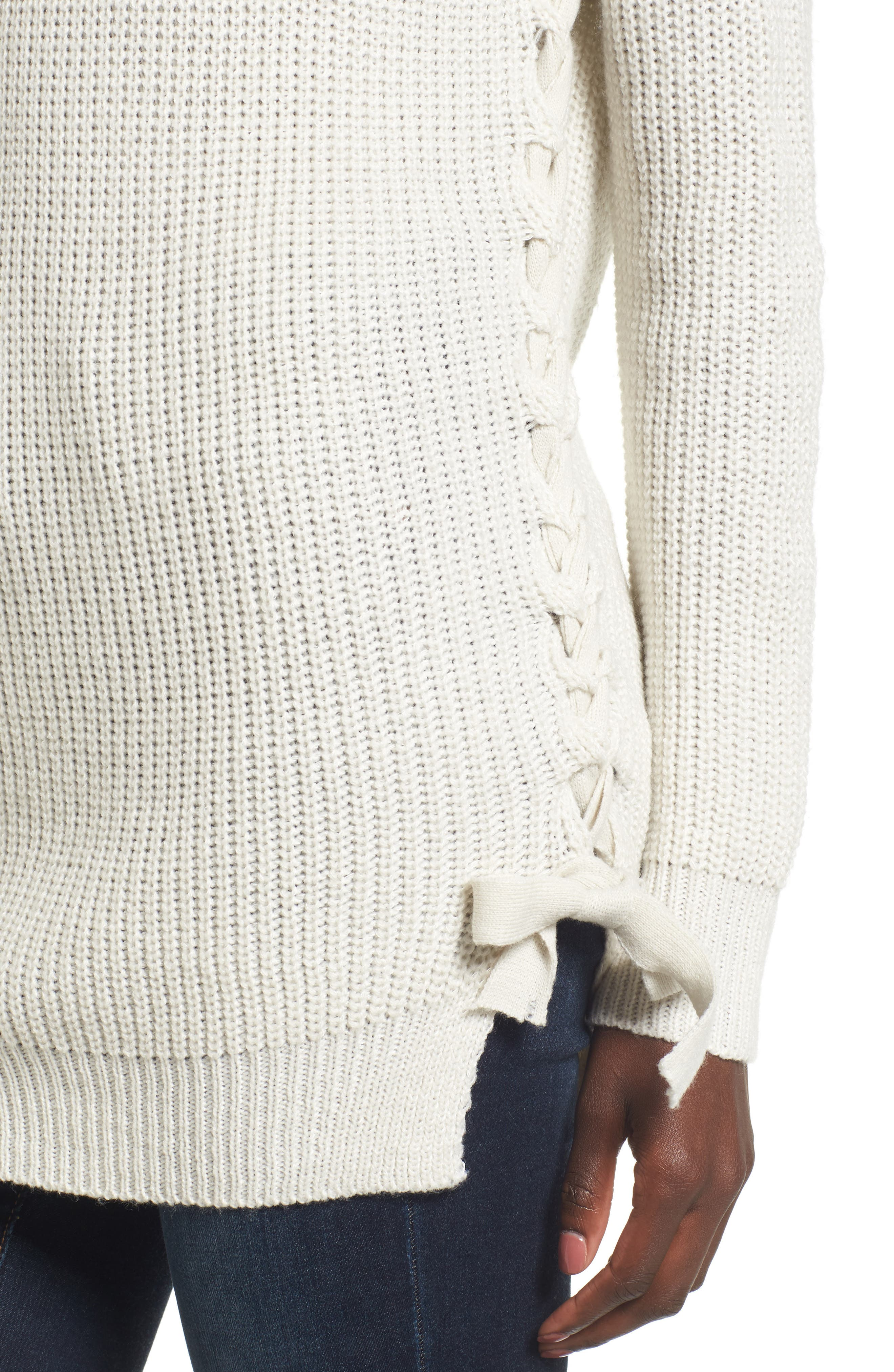 Reina Lace-Up Side Sweater,                             Alternate thumbnail 5, color,                             Ivory