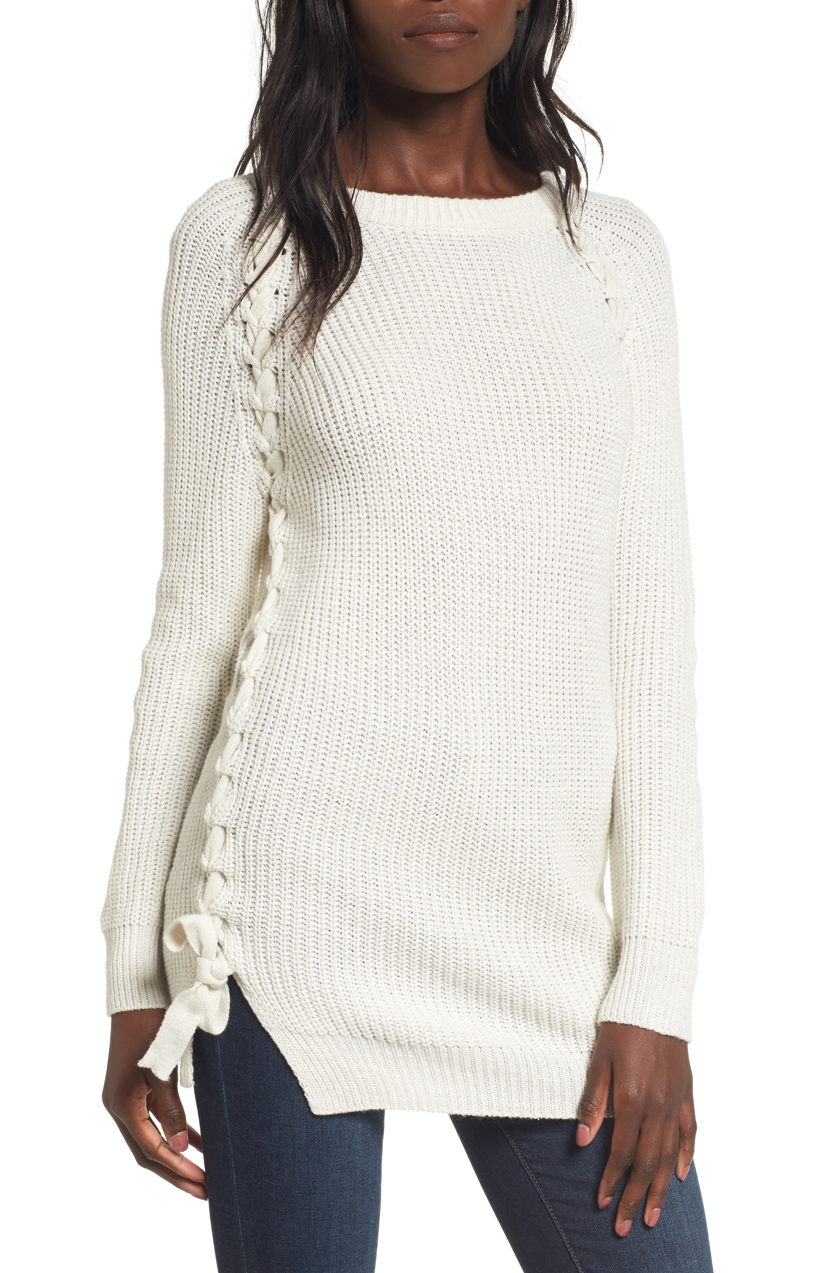Reina Lace-Up Side Sweater,                         Main,                         color, Ivory