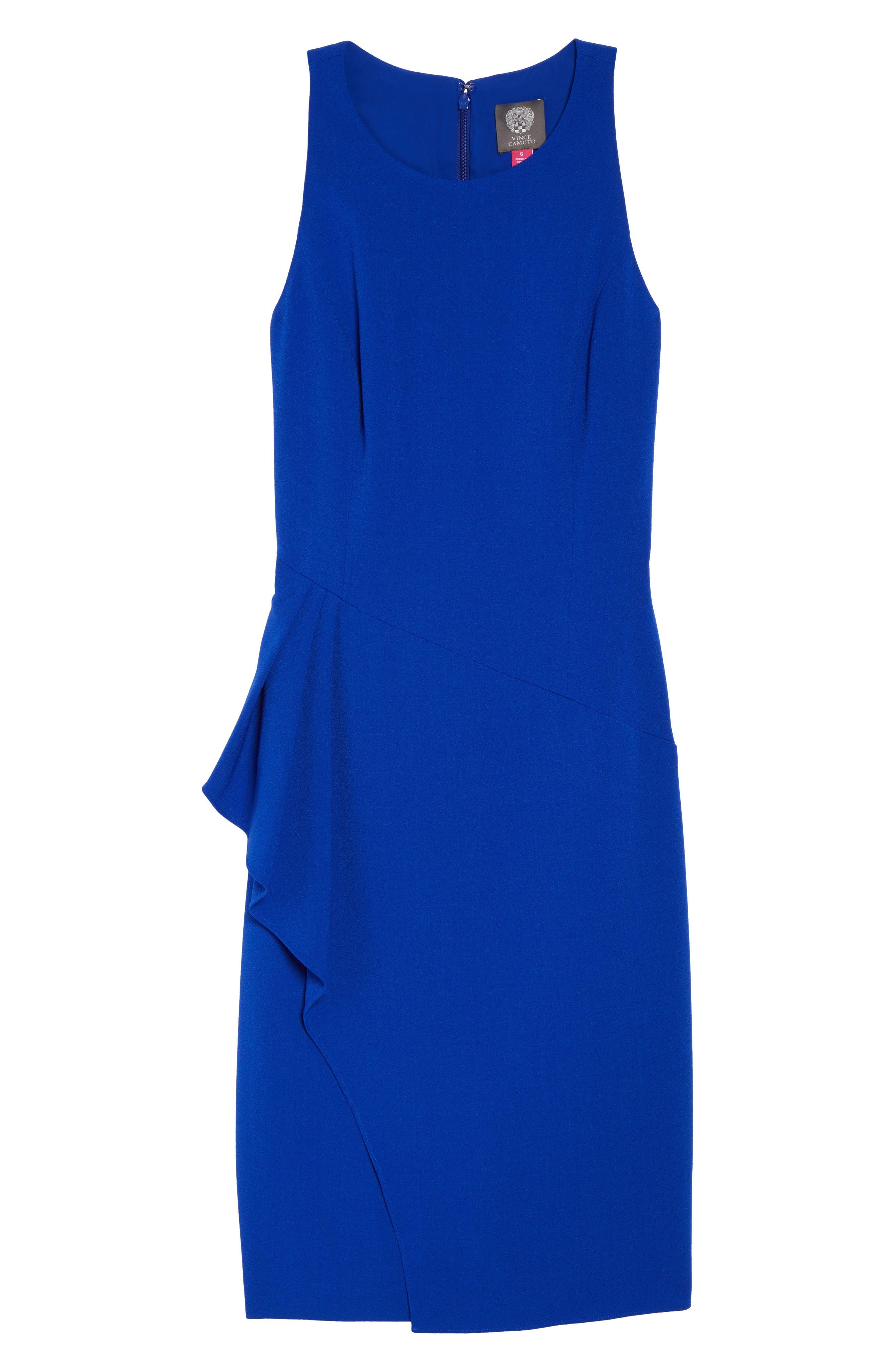 Sleeveless Crepe Sheath Dress,                             Alternate thumbnail 6, color,                             Royal