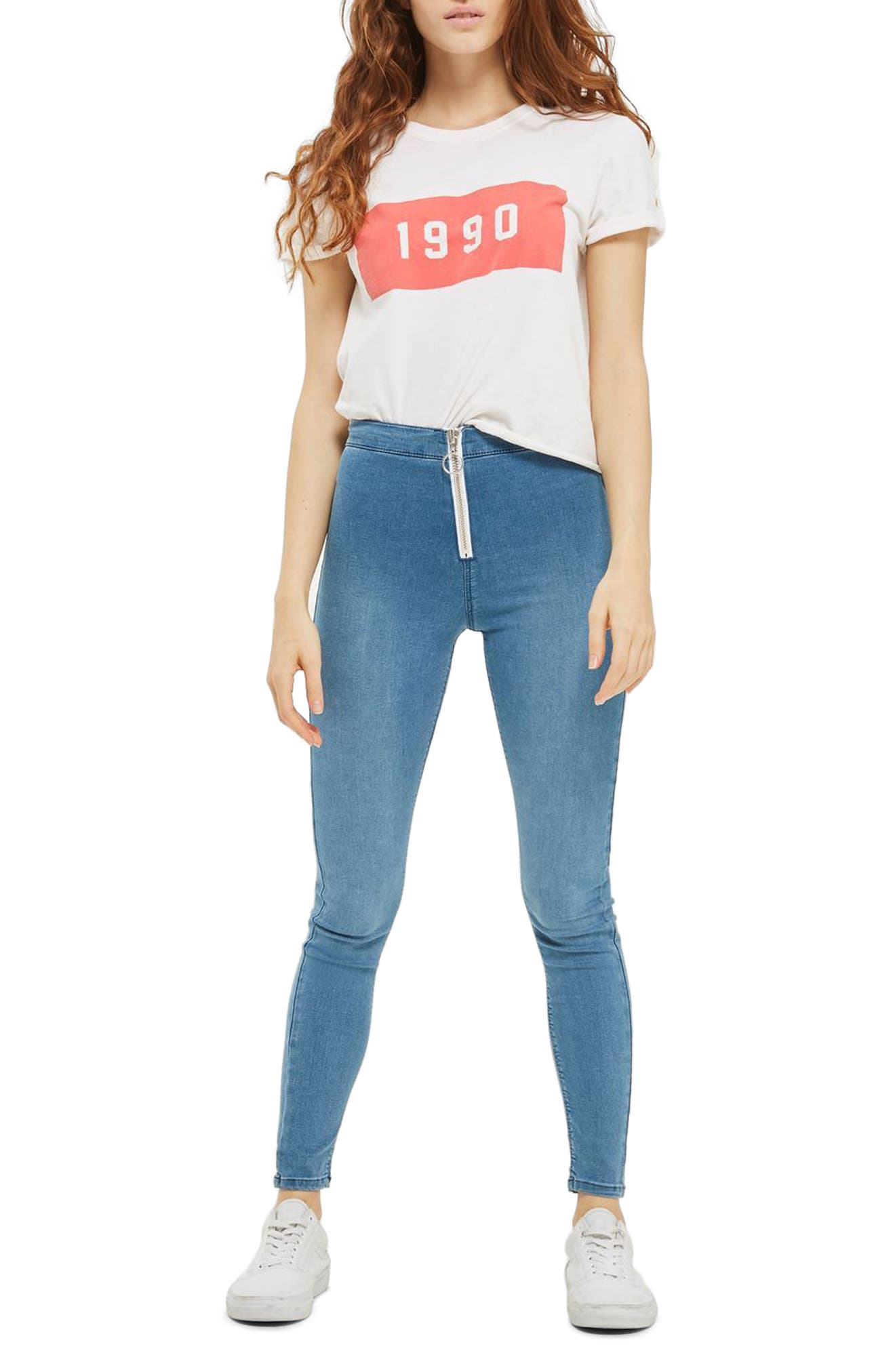 TOPSHOP Joni High Rise Zip Front Super Skinny Jeans