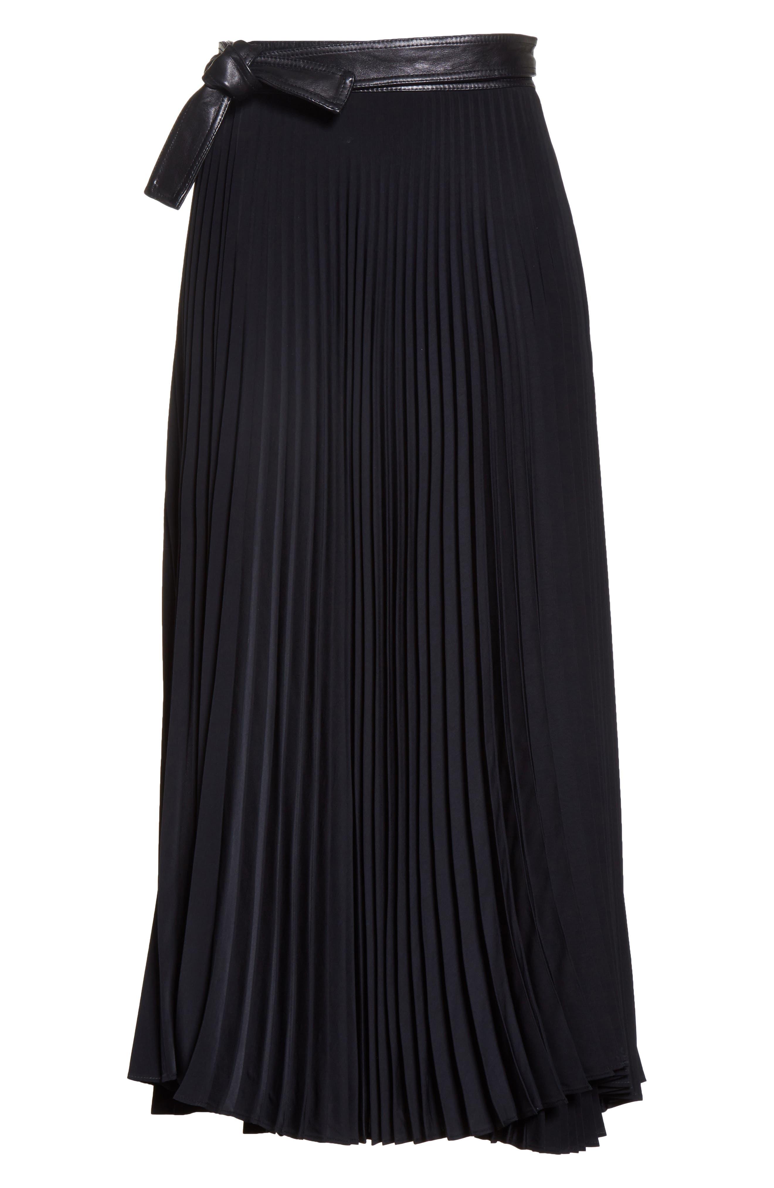 Anika Leather Trim Pleated Midi Skirt,                             Alternate thumbnail 7, color,                             Black