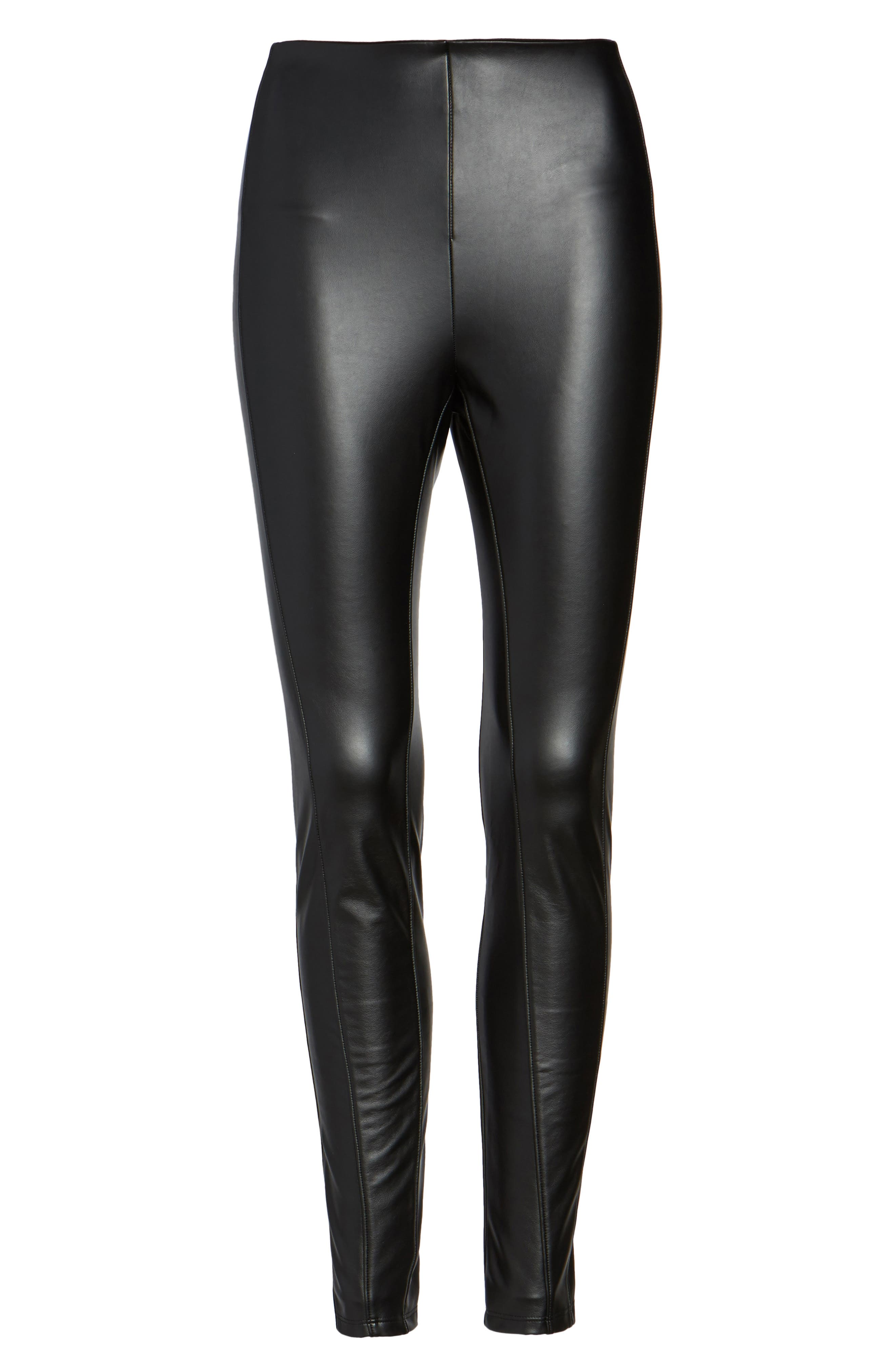 Bryce High Waist Faux Leather Leggings,                             Alternate thumbnail 4, color,                             Black
