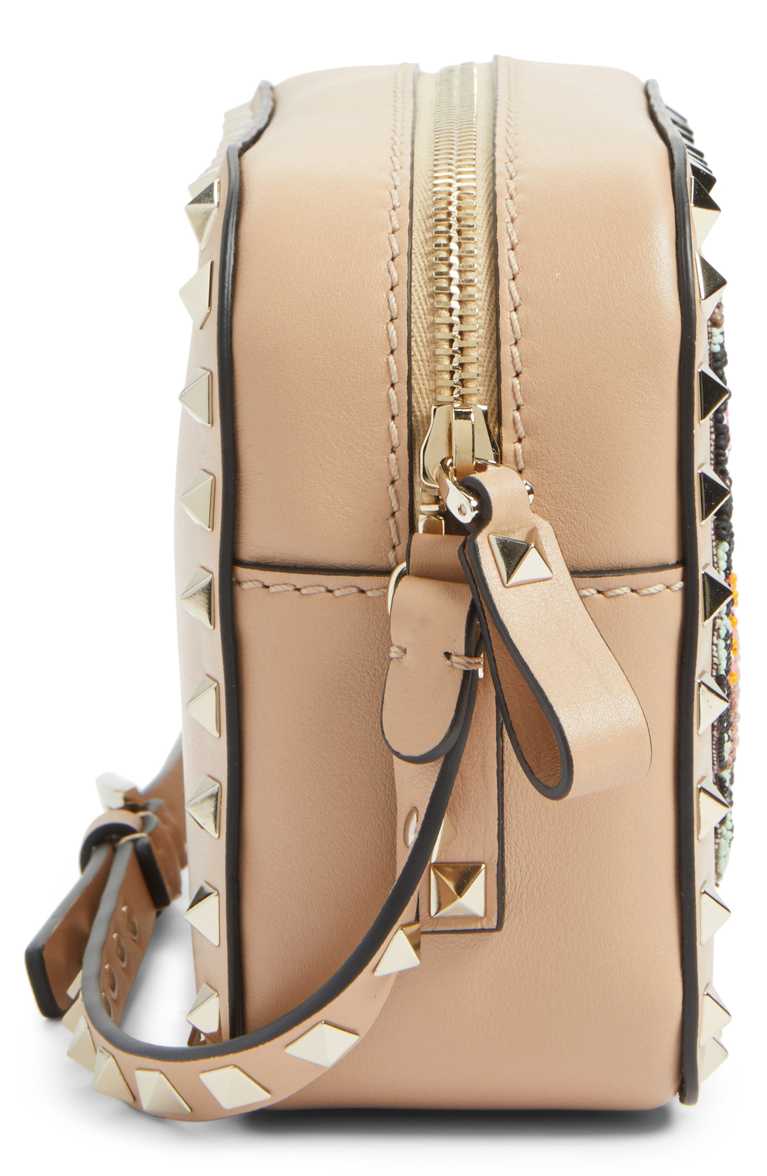 Rockstud Beaded Butterfly Leather Camera Crossbody Bag,                             Alternate thumbnail 4, color,                             Camel Rose
