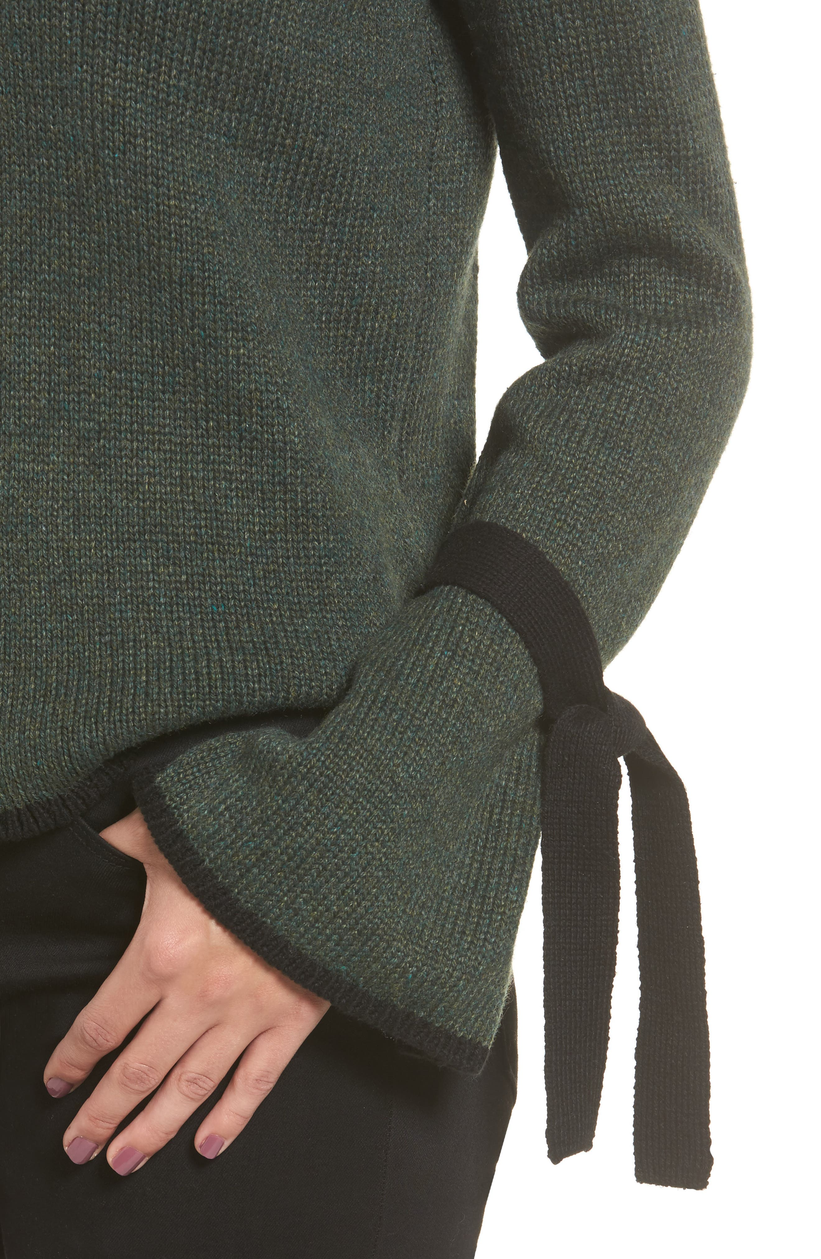 Tie Sleeve Sweater,                             Alternate thumbnail 4, color,                             Green Wood
