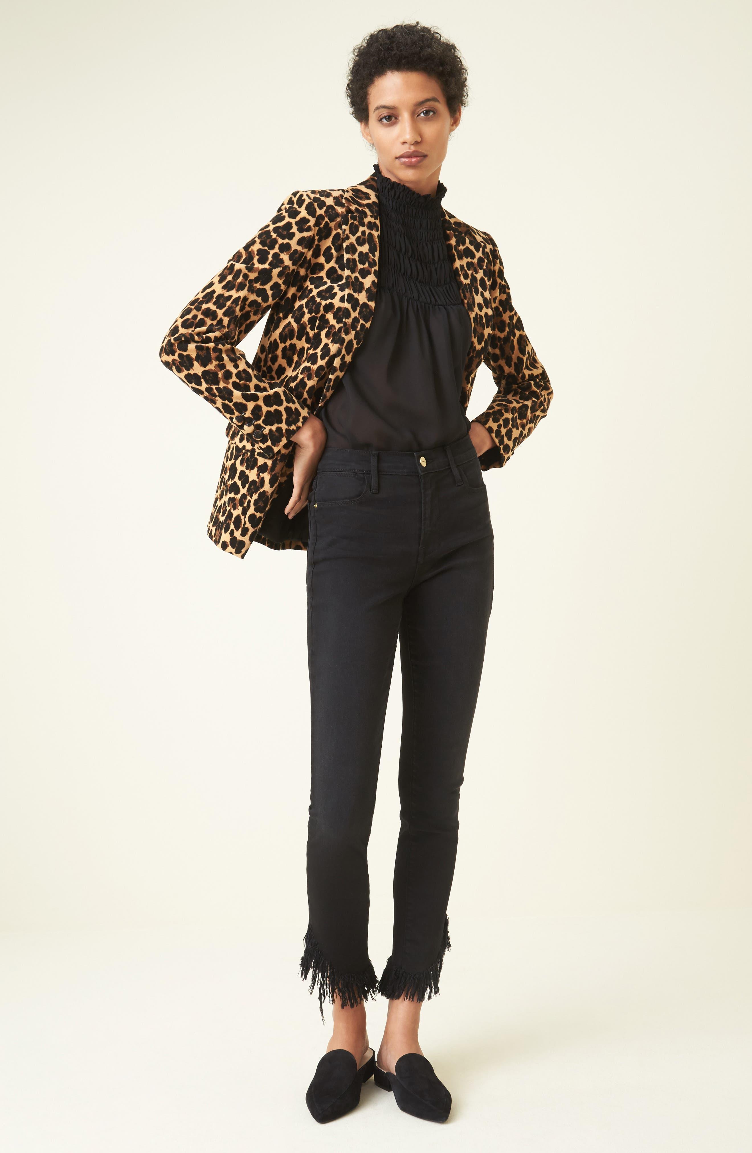 Alternate Image 2  - FRAME Cheetah Classic Velvet Blazer