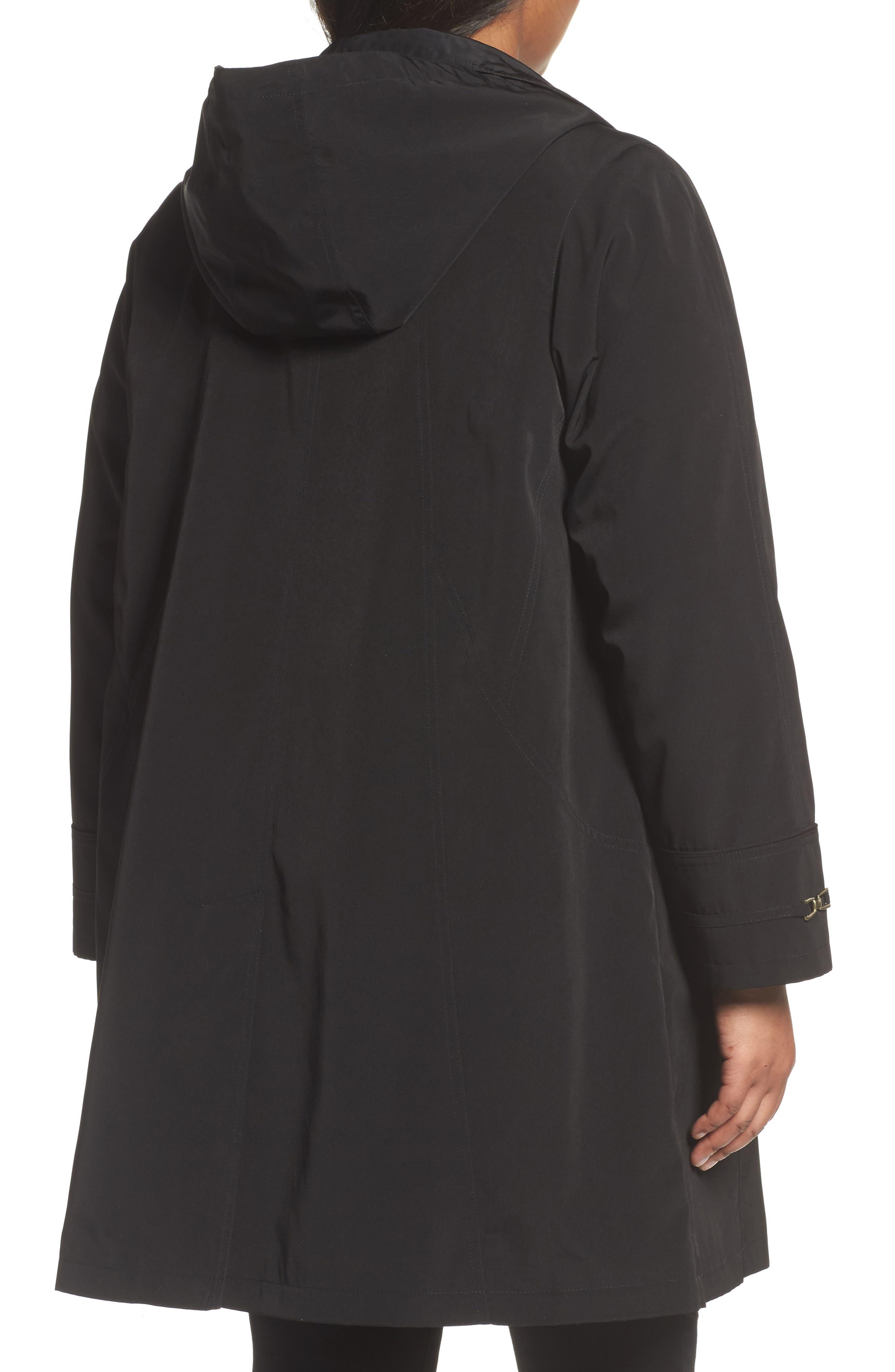 Alternate Image 2  - Gallery Long Silk Look Raincoat (Plus Size)