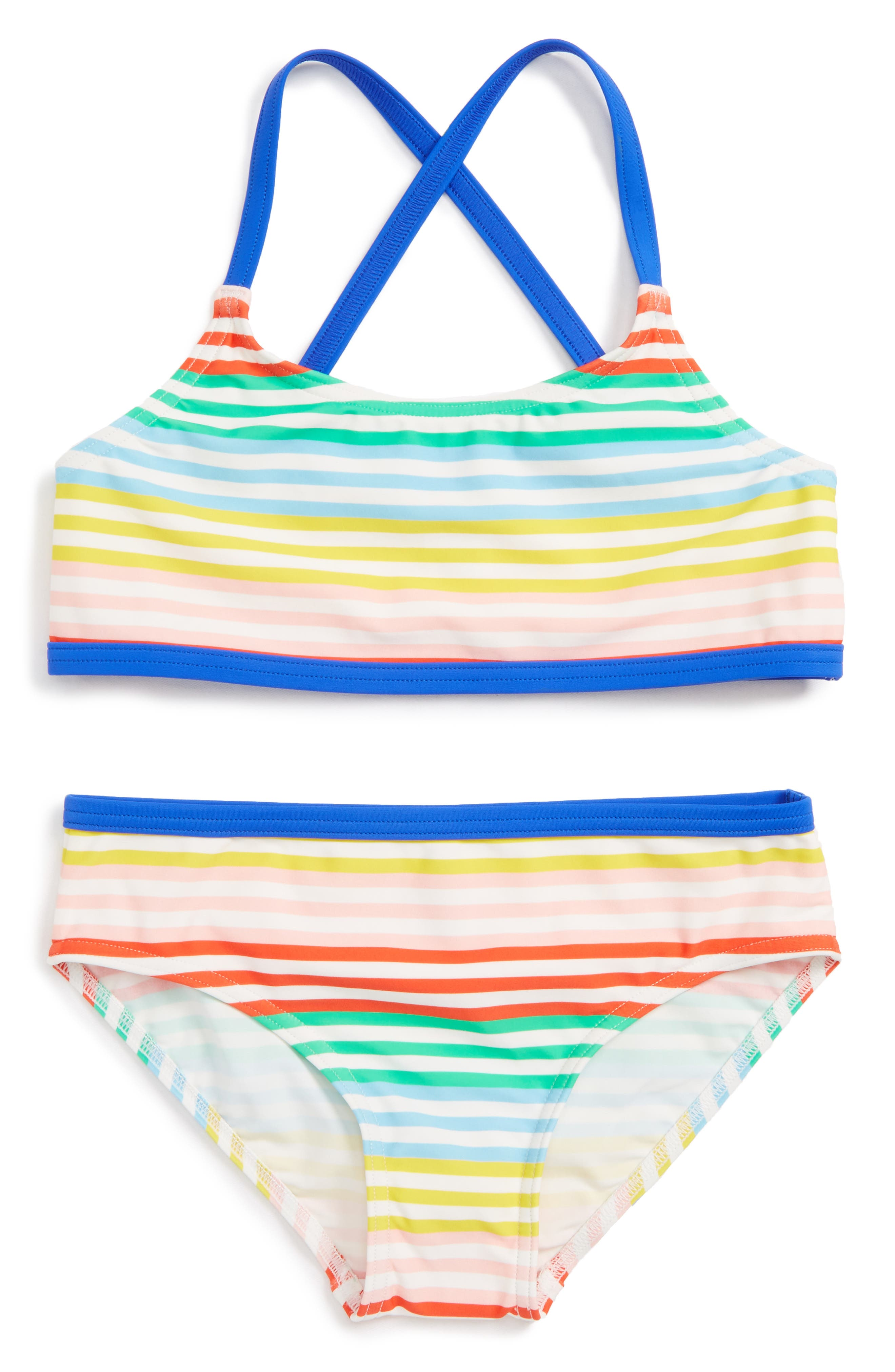 Into the Sea Two-Piece Swimsuit,                         Main,                         color, Rainbow Stripe