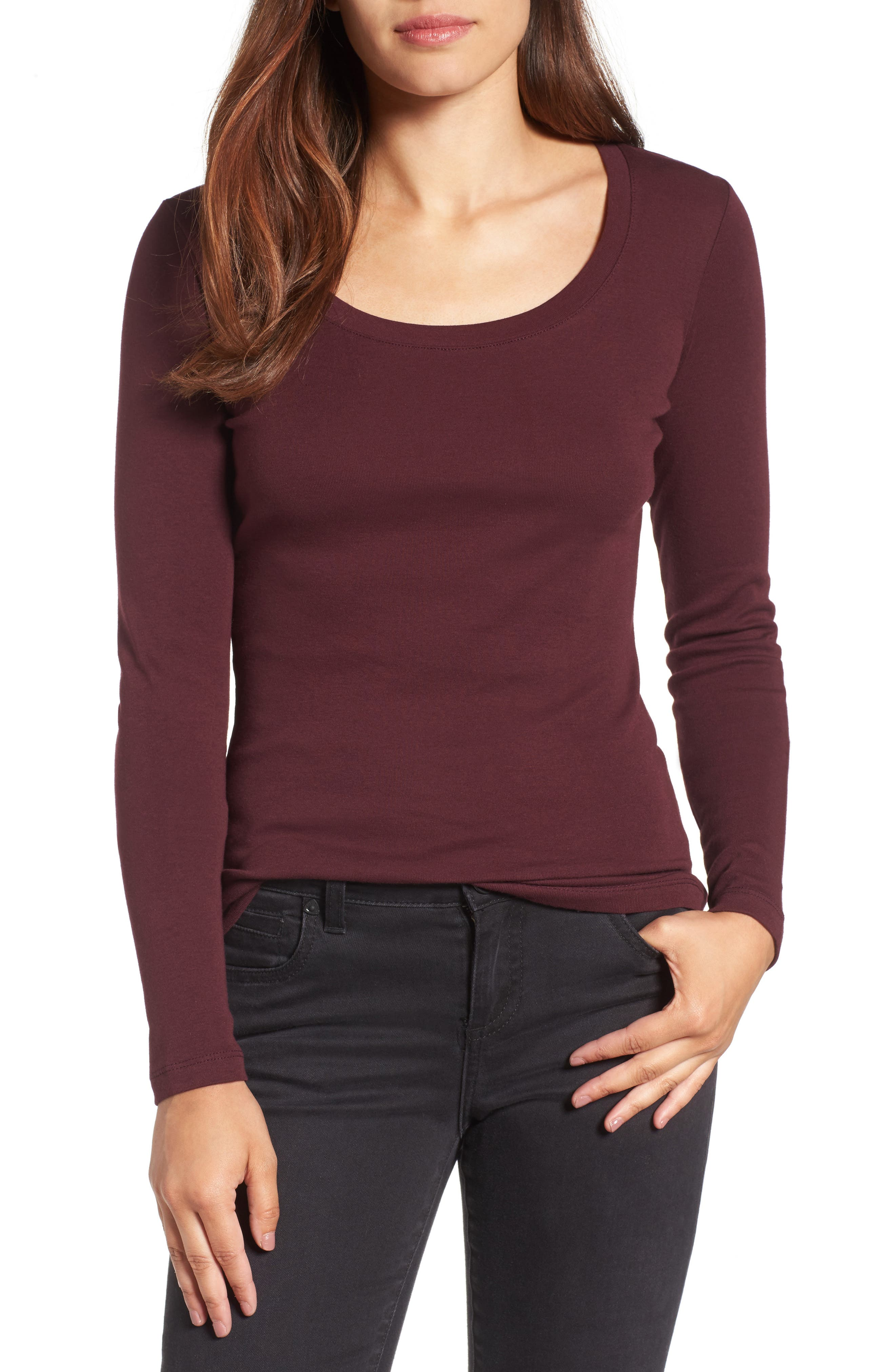 Main Image - Caslon® 'Melody' Long Sleeve Scoop Neck Tee (Regular & Petite)