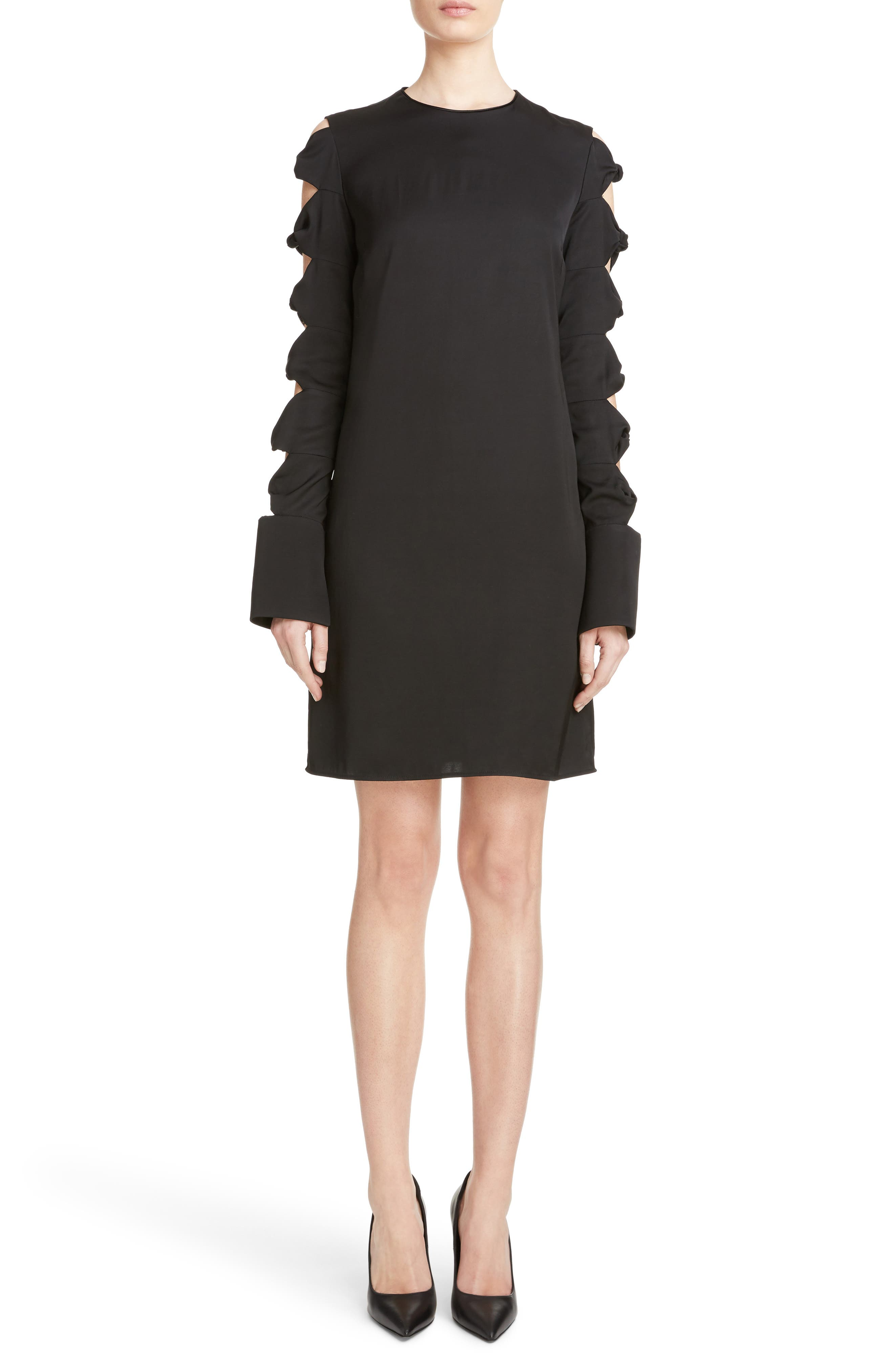Knotted Sleeve Dress,                         Main,                         color, Black