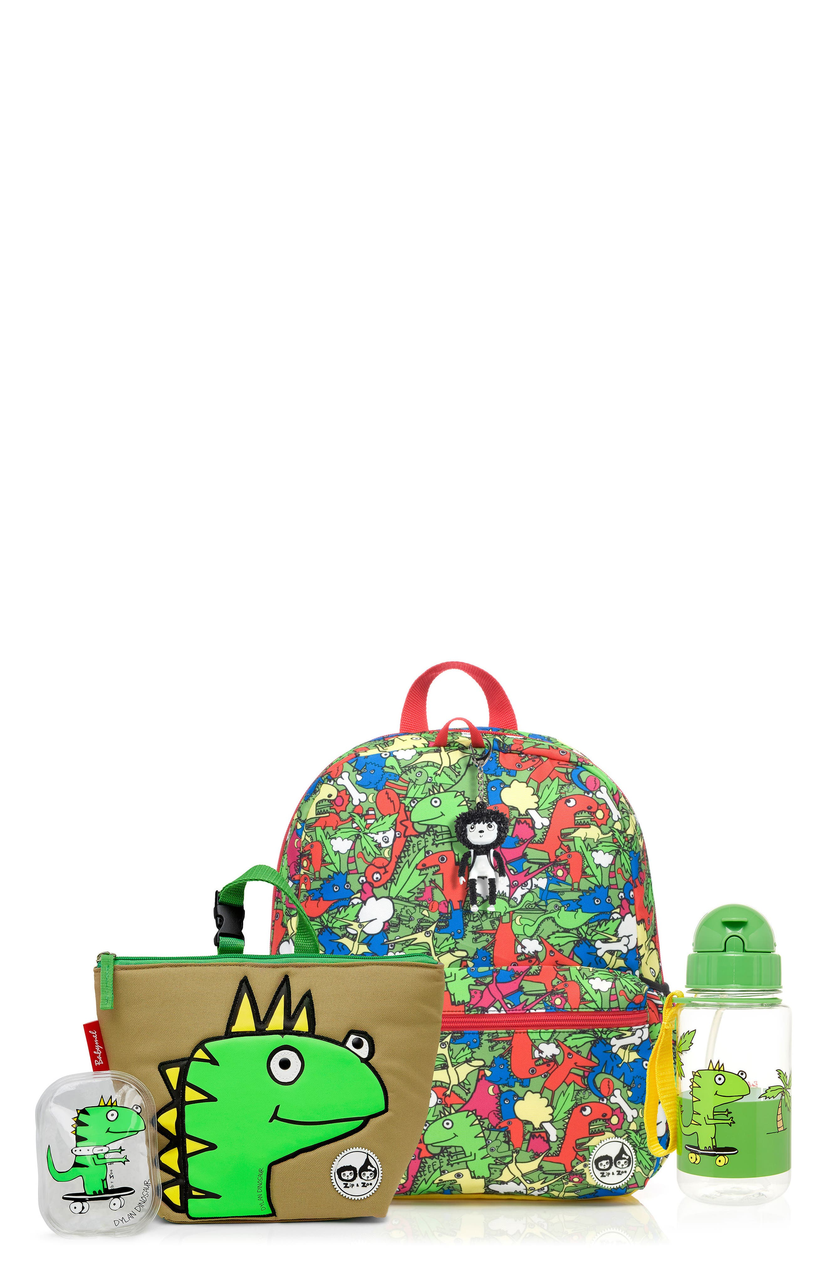 Zip & Zoe Junior Backpack Set,                             Main thumbnail 1, color,                             Dino Multi/ Dylan