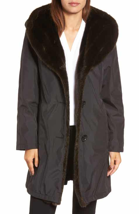 Gallery Storm Coat with Faux Fur Trim & Lining by GALLERY