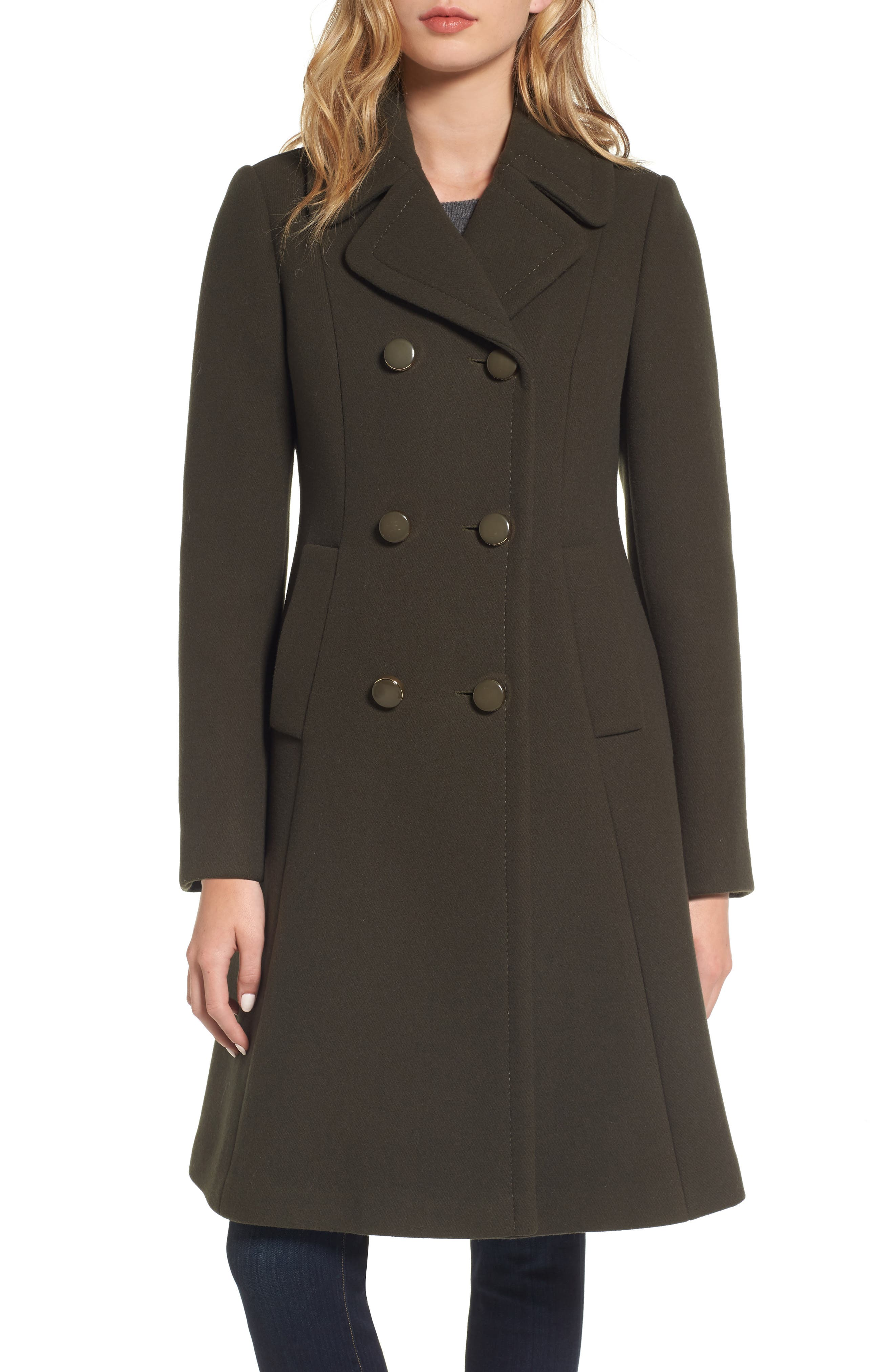 twill fit & flare coat,                             Main thumbnail 1, color,                             Olive Grove
