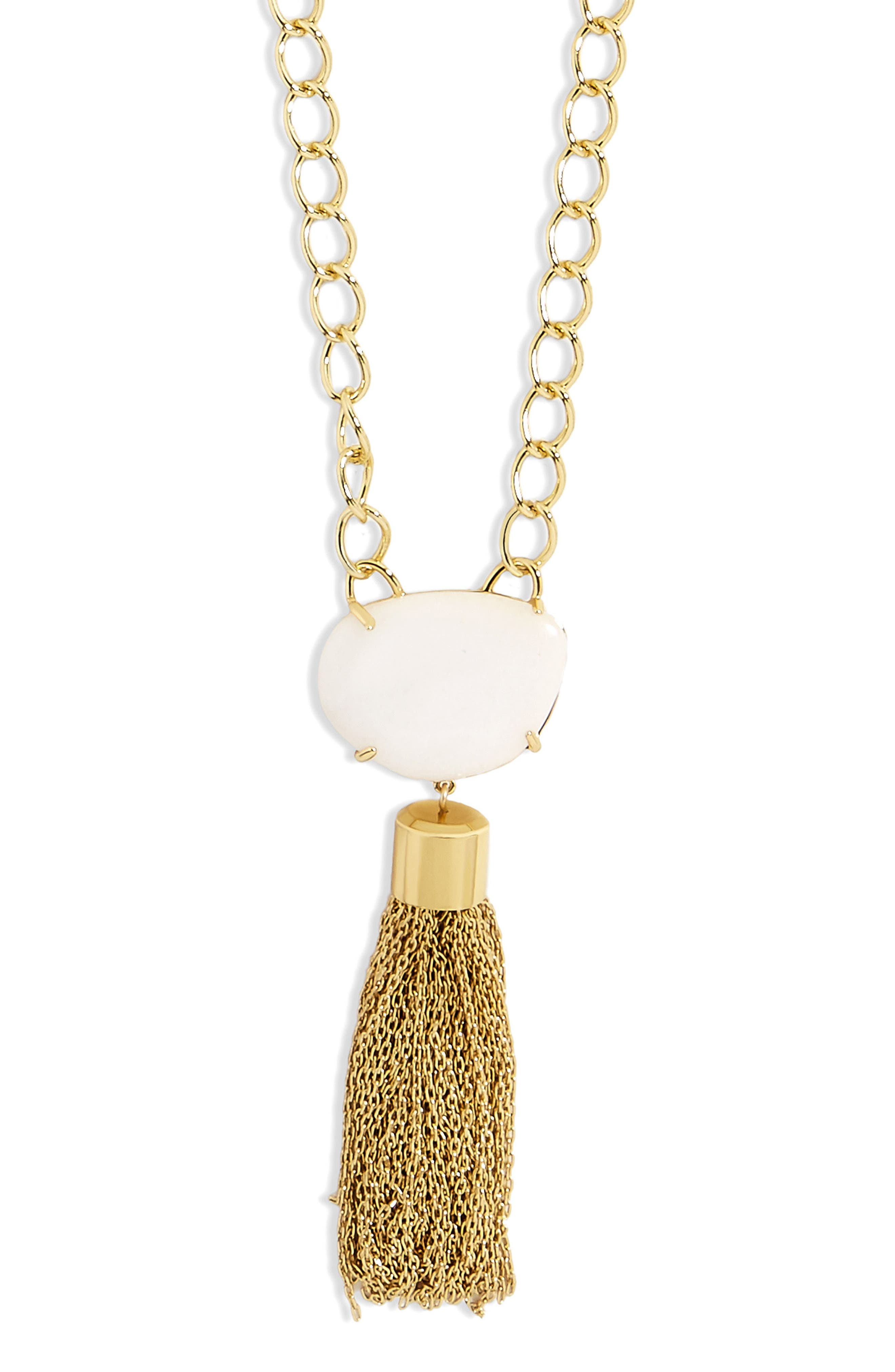 Carisma Chain Link Tassel Pendant Necklace,                             Alternate thumbnail 2, color,                             White