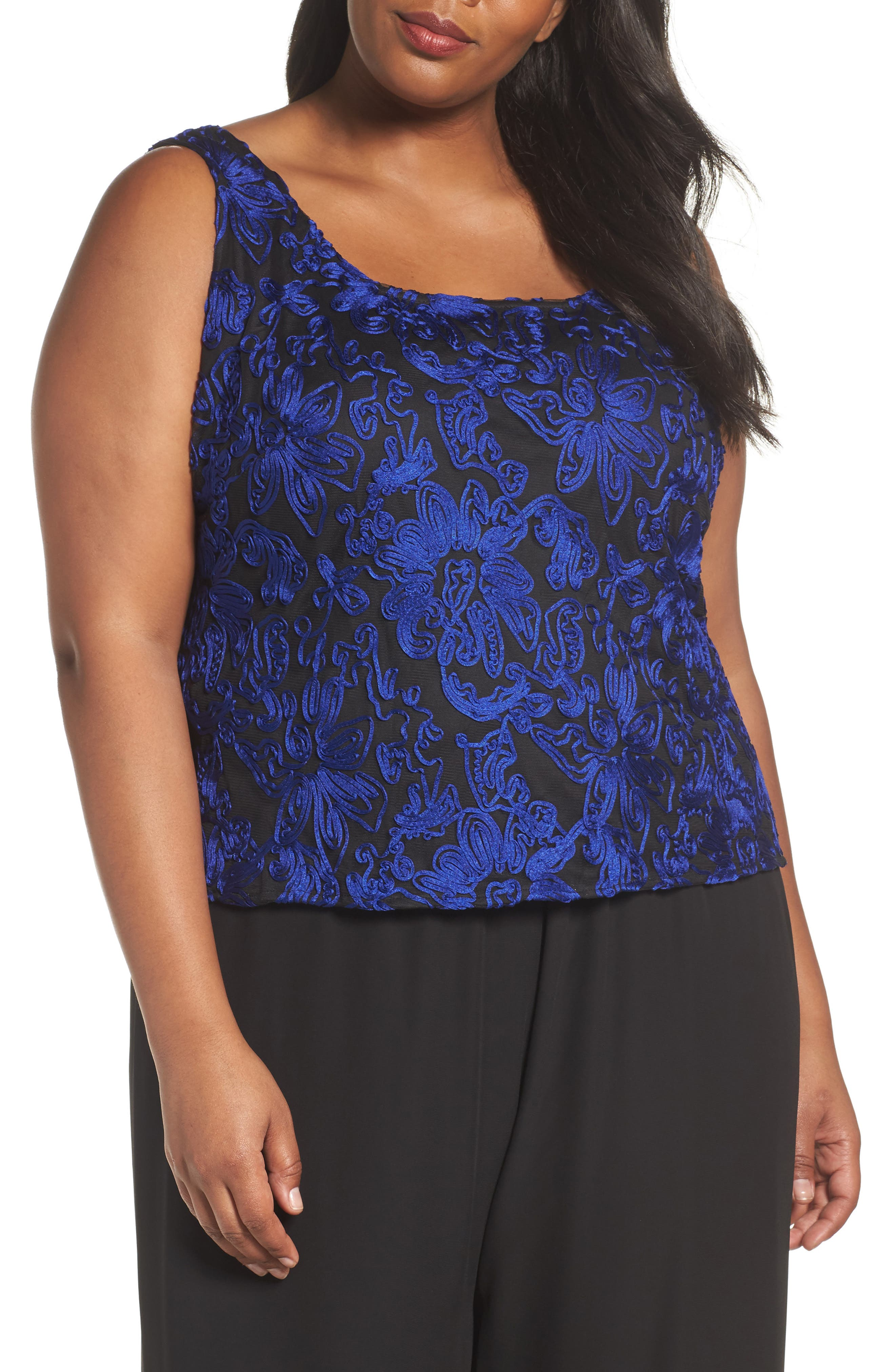 Alternate Image 3  - Alex Evenings Embroidered Twinset (Plus Size)
