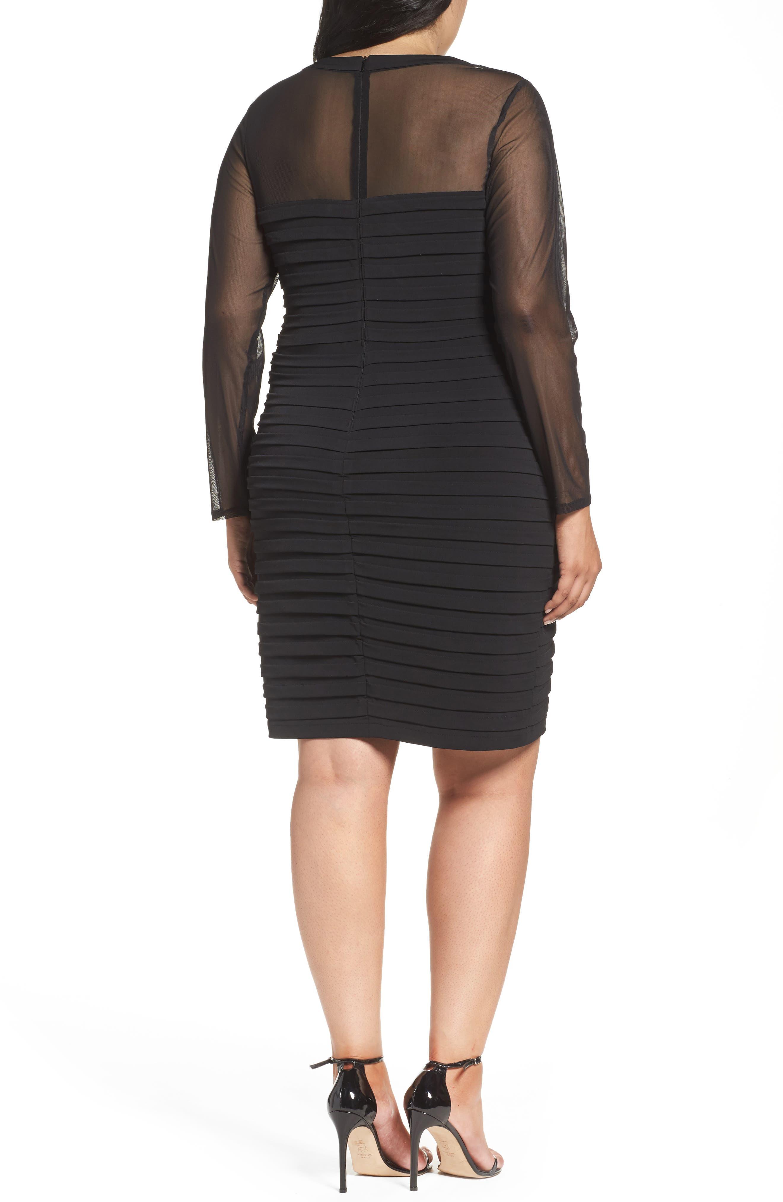 Alternate Image 2  - London Times Shutter Pleat Jersey Skeath Dress (Plus Size)