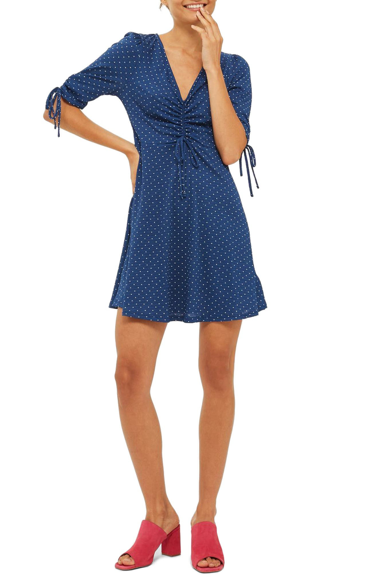 Polka Dot Tea Dress,                             Main thumbnail 1, color,                             Navy Blue Multi