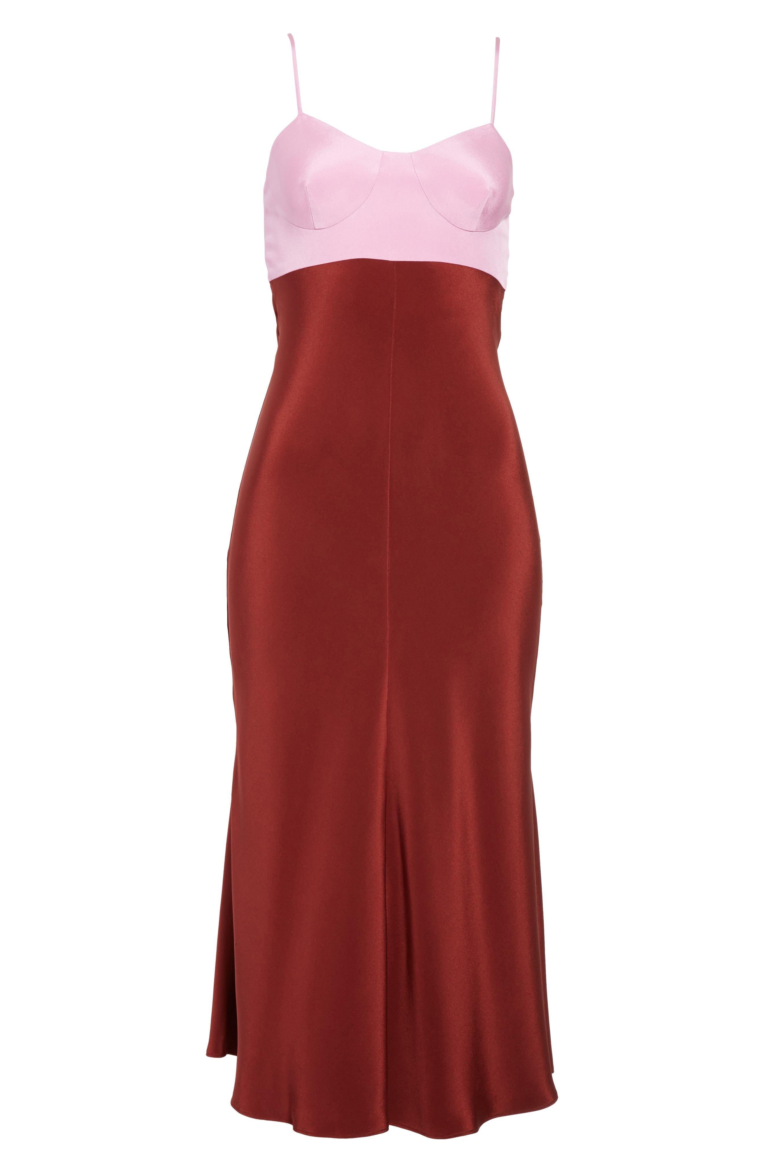 Silk Lingerie Dress,                             Alternate thumbnail 6, color,                             Burnt Red Multi
