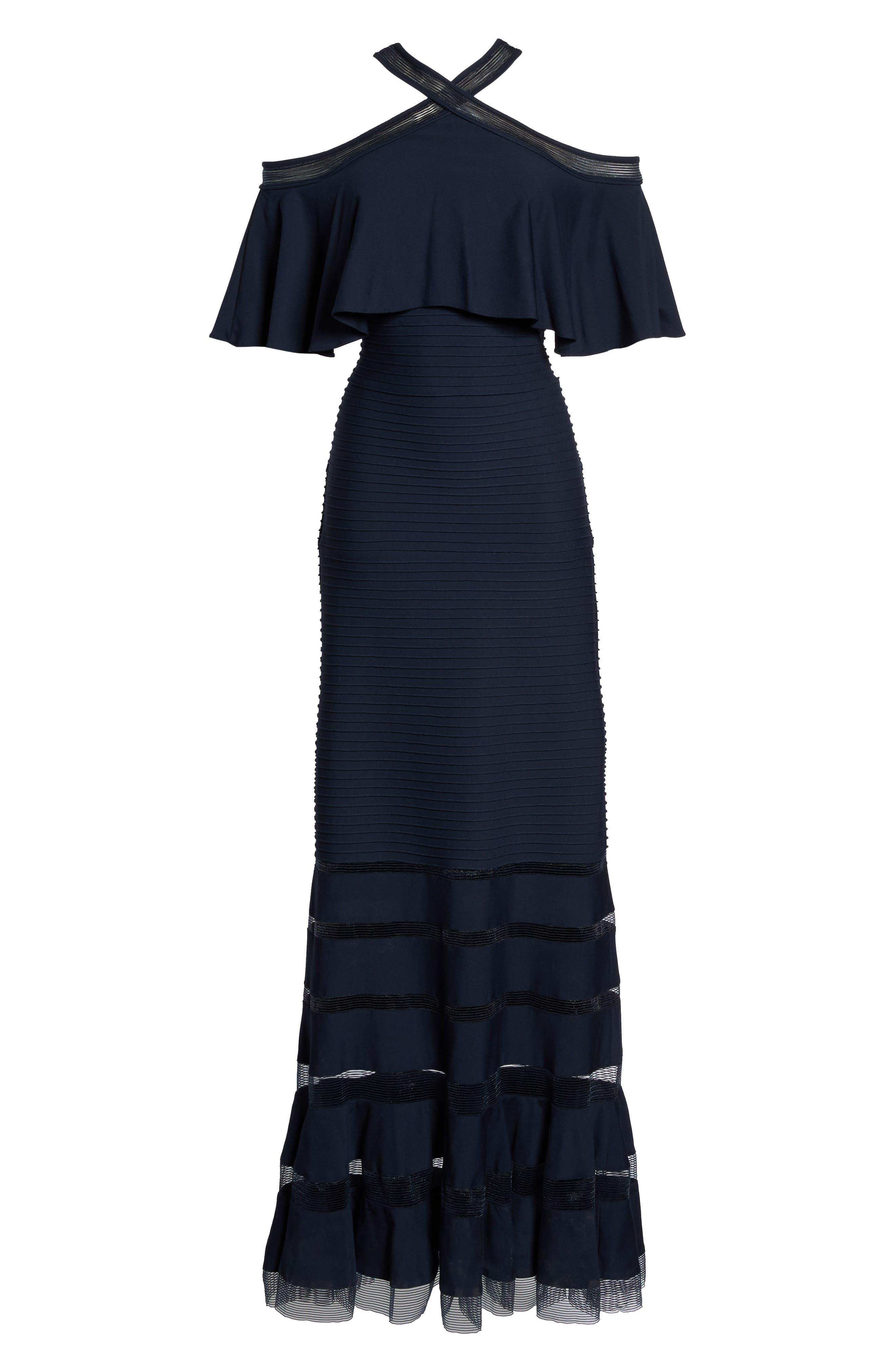 Alternate Image 6  - Tadashi Shoji Jersey Cold-Shoulder Gown (Regular & Petite)